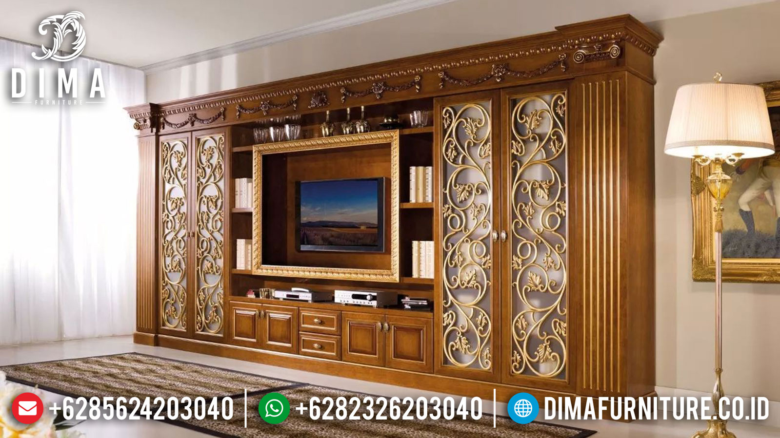 Harga Bufet TV Mewah Luxury Carving Greatest Product Furniture Jepara TTJ-1023