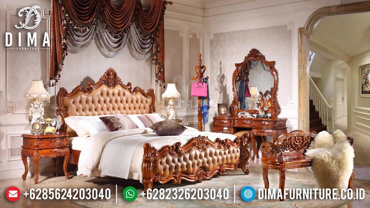 Harga Kamar Set Mewah Ukiran Jepara Natural Kombinasi New Model Furniture Jepara TTJ-1136
