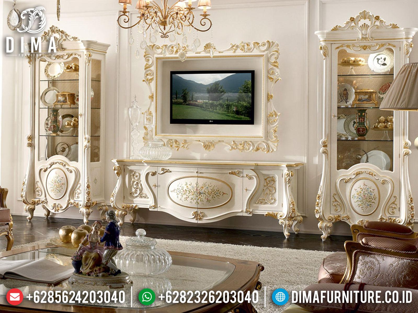 Harga Lemari Hias Kaca Mewah Set Meja TV Luxury White Duco Classic Carving Jepara TTJ-1032