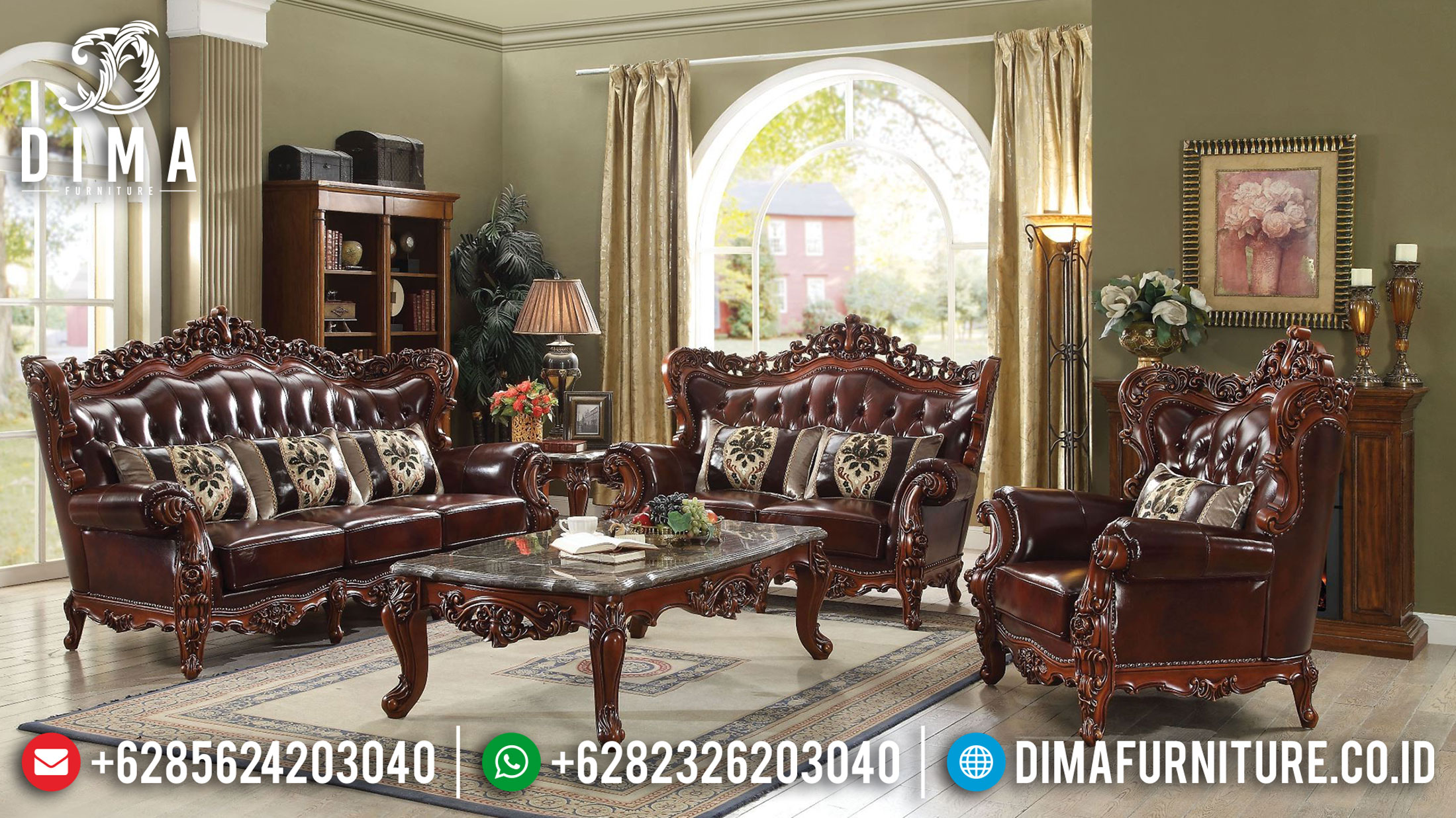 Harga Sofa Mewah Ukiran Jepara Luxury Classic Natural Jati Perhutani TTJ-1058