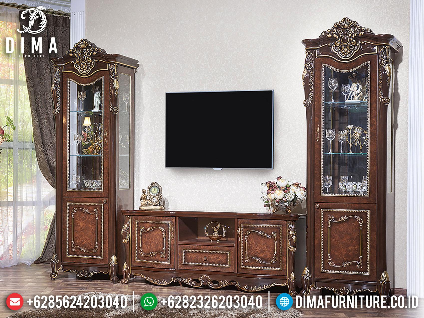 Imperial Style Bufet TV Mewah, Lemari Hias Kaca Terbaru Luxury Carving Marquetry TTJ-1088