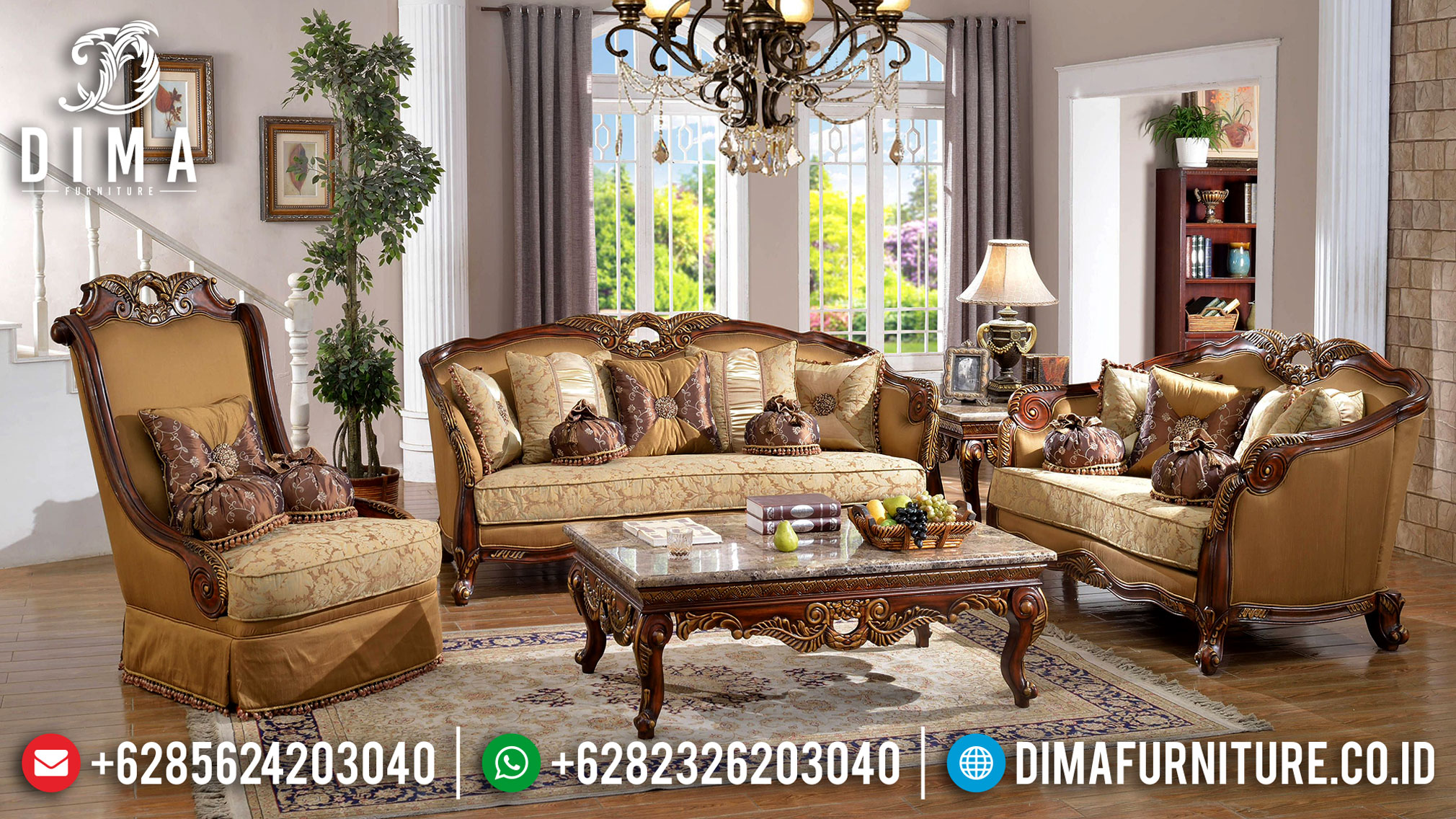 Jual Sofa Tamu Kayu Jati Classic Design Empire Best Guality Great Solid Wood TTJ-1064
