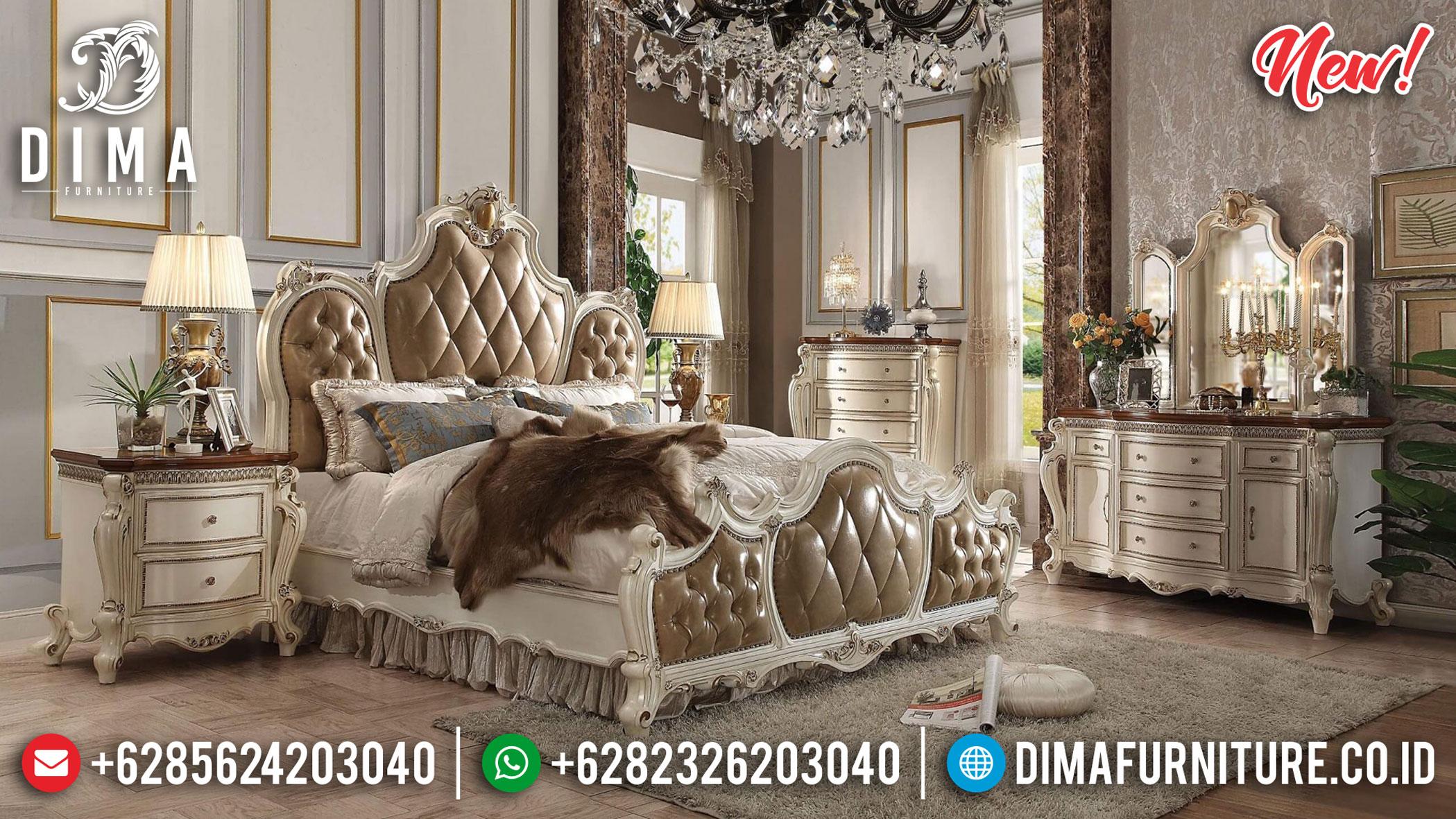 Kamar Set Ukir Jepara Mewah Lovebed White Duco Luxury Italian Carving TTJ-1081