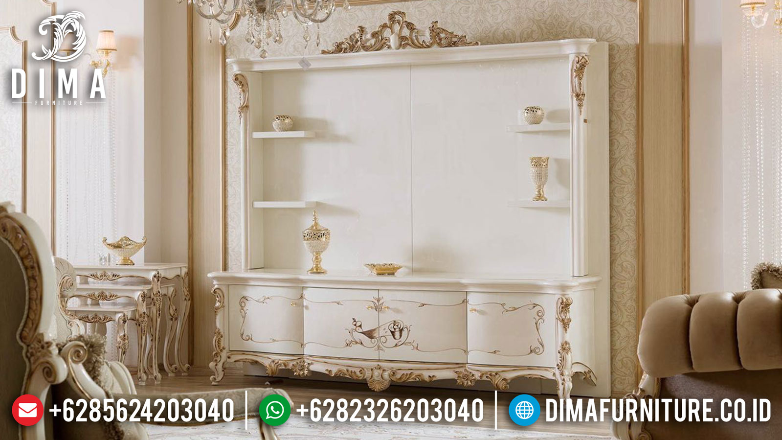 Living Room Design Bufet TV Mewah White Duco Combination Luxury Type Product TTJ-1027