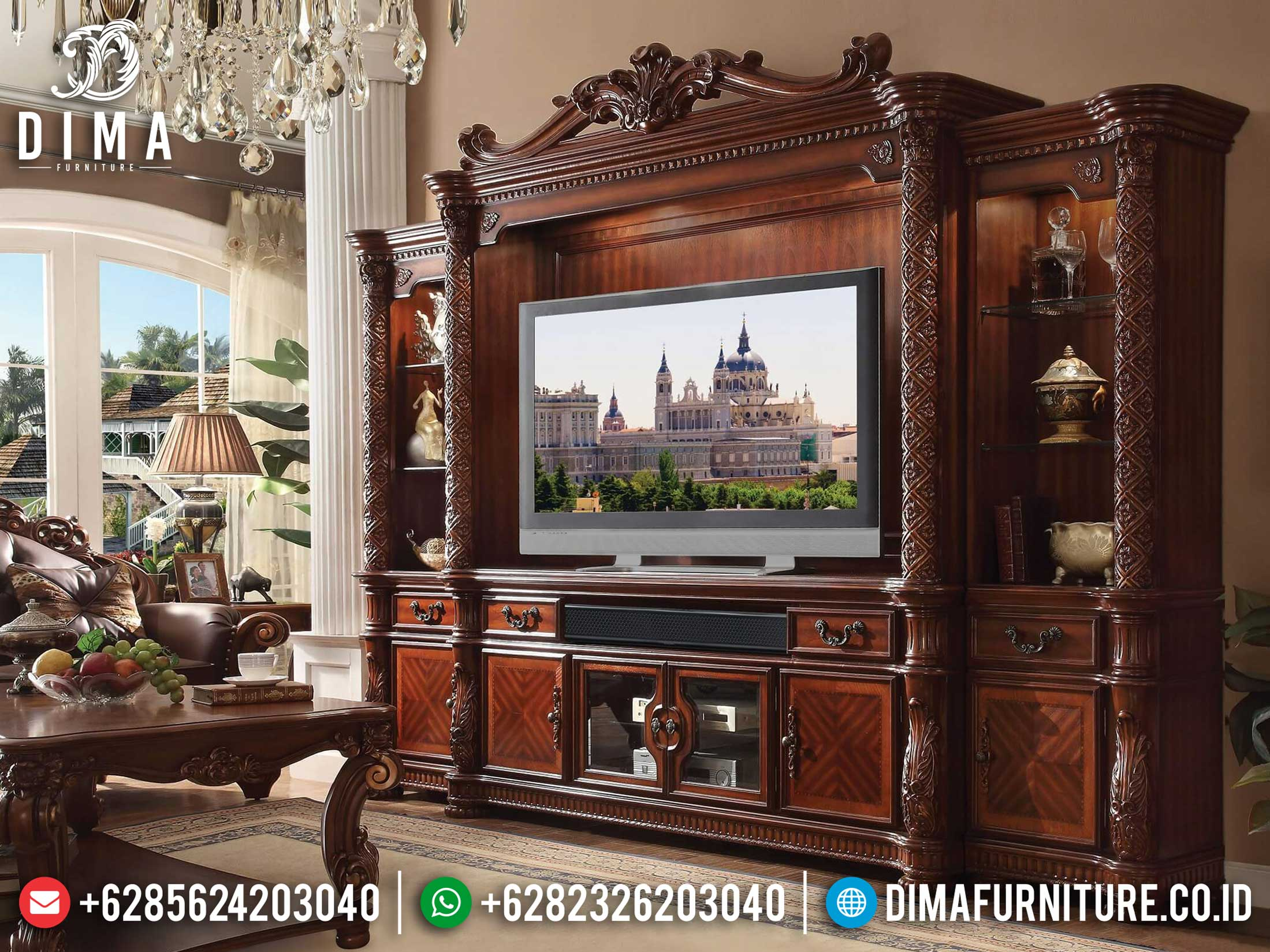 Model Bufet Tv Jati Set Lemari Hias Kaca Luxury Carving Jepara New 2020 TTJ-1030
