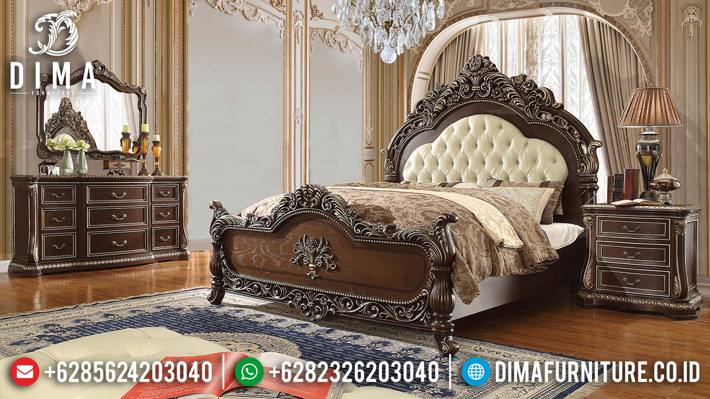 Model Kamar Set Mewah Ukiran Luxury Classic Jepara Natural Salak Brown Color TTJ-1140