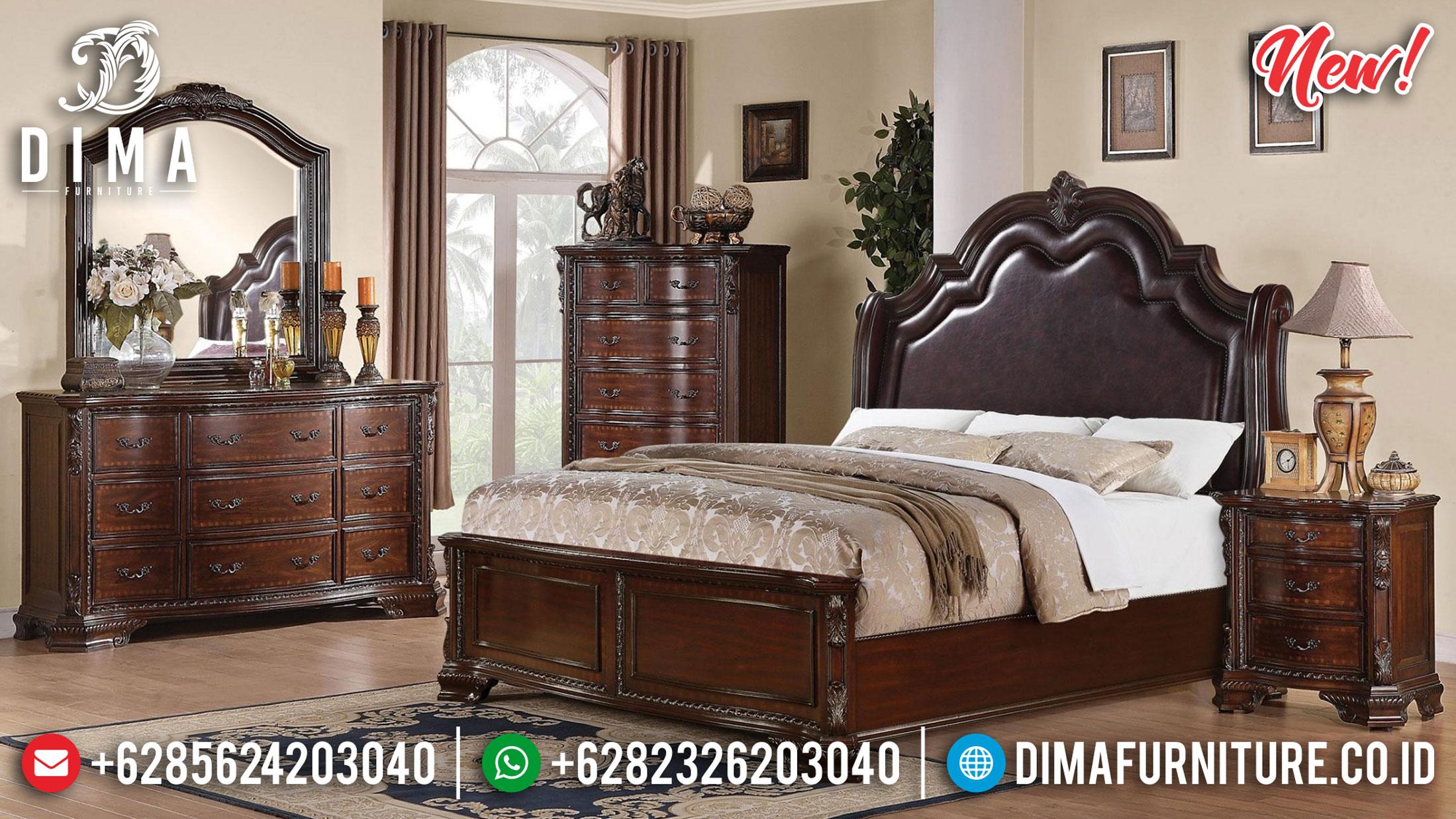 Model Tempat Tidur Minimalis Klasik Jati Perhutani Natural Color Mebel Jepara Terbaru TTJ-1076