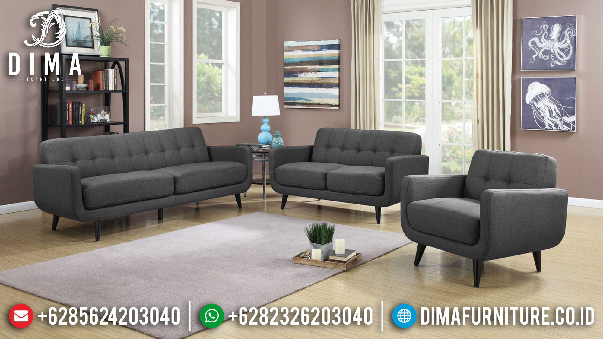 New Arrival Sofa Tamu Minimalis Grey Fabric Best Price Terbaru TTJ-0996