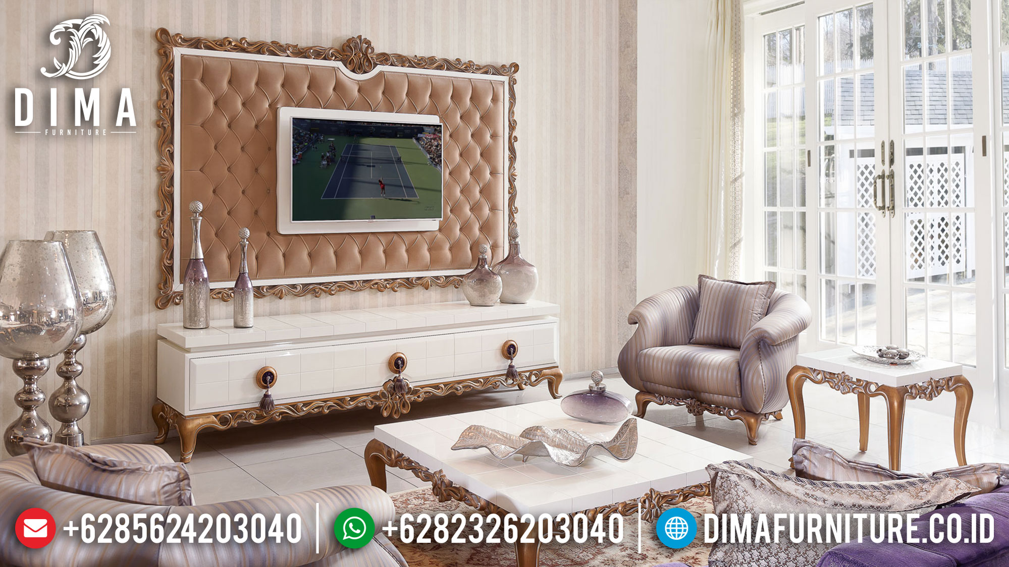 New Design Meja TV Mewah Putih Duco Furniture Jepara Luxury Update 2020 TTJ-1028