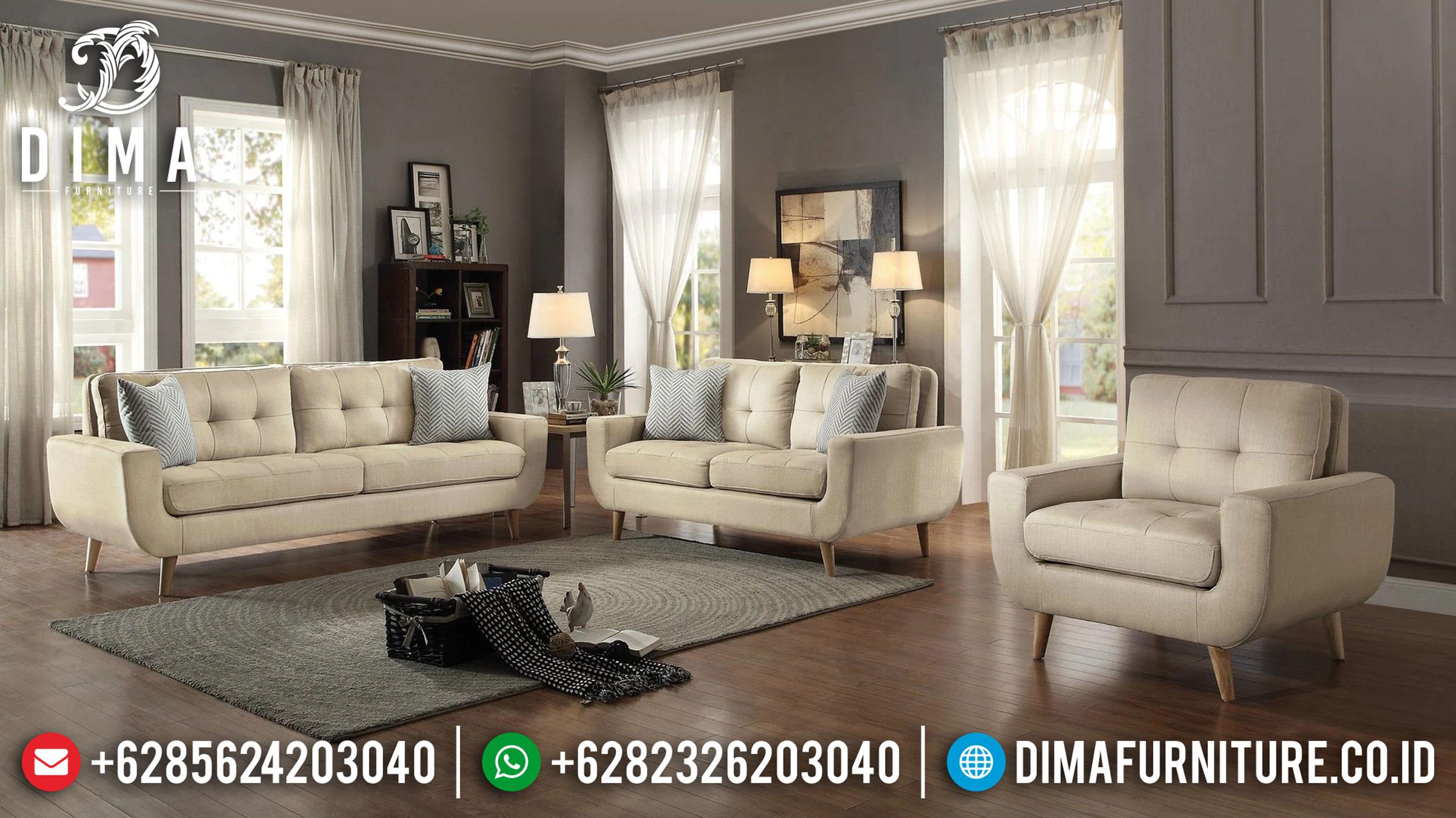 New Design Sofa Tamu Minimalis Jepara Classic Retro White Cream Fabric TTJ-0993