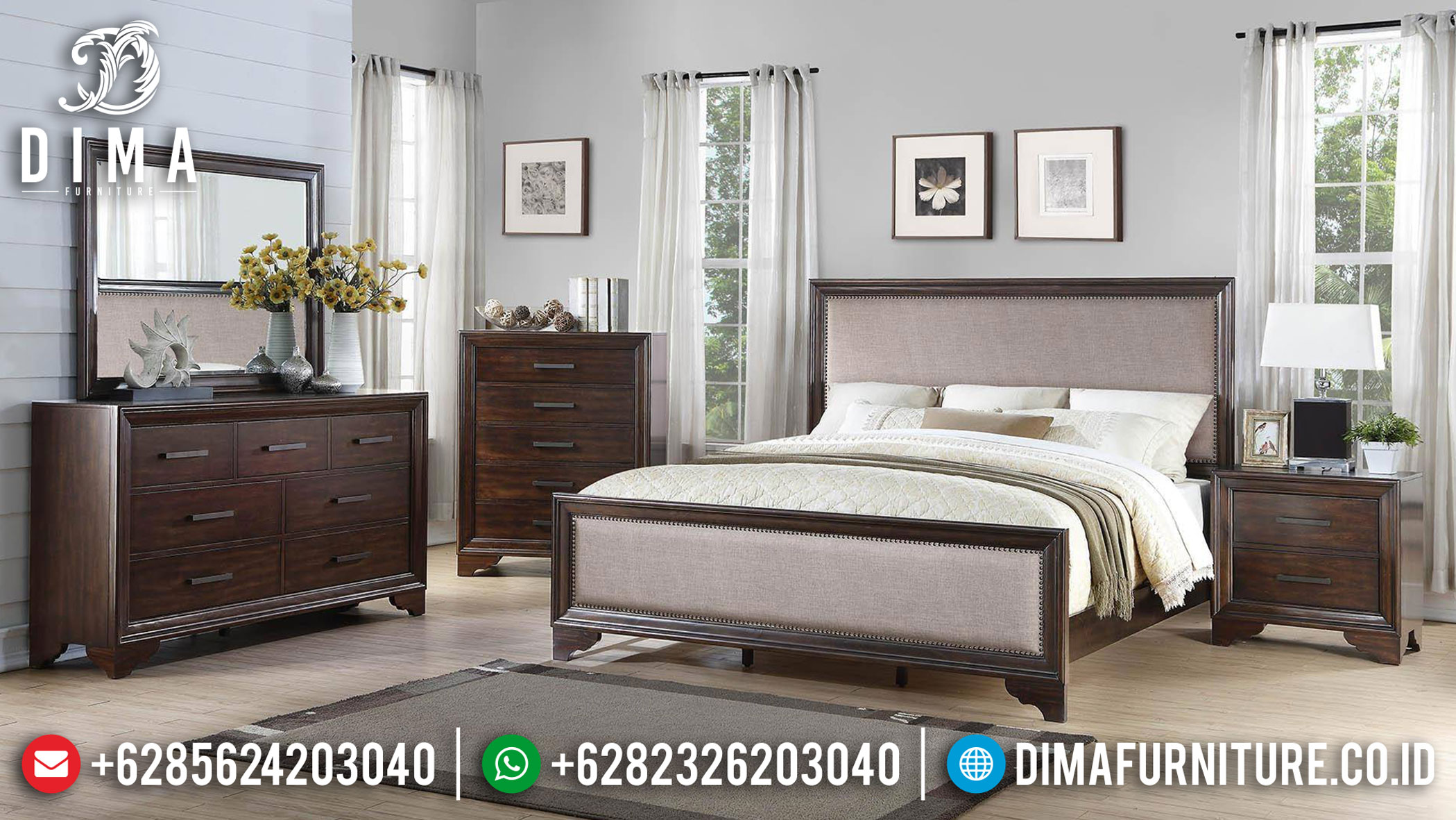 New Dipan Kayu Jati Kamar Set Minimalis Natural Dark Salak Furnishing TTJ-1113