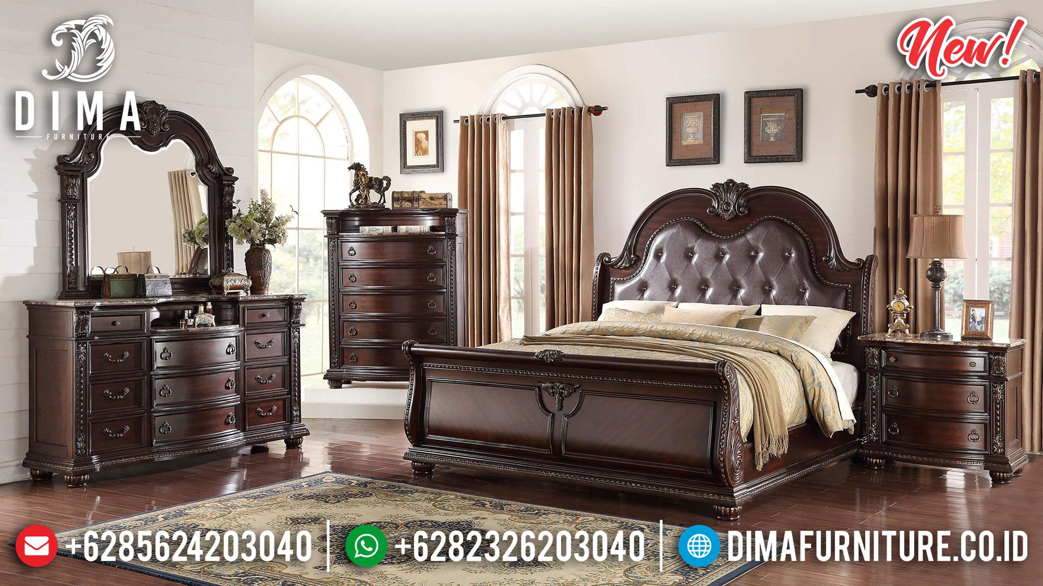 New Kamar Set Klasik Kayu Jati Natural Dark Brown Best Product Furniture Jepara TTJ-1075