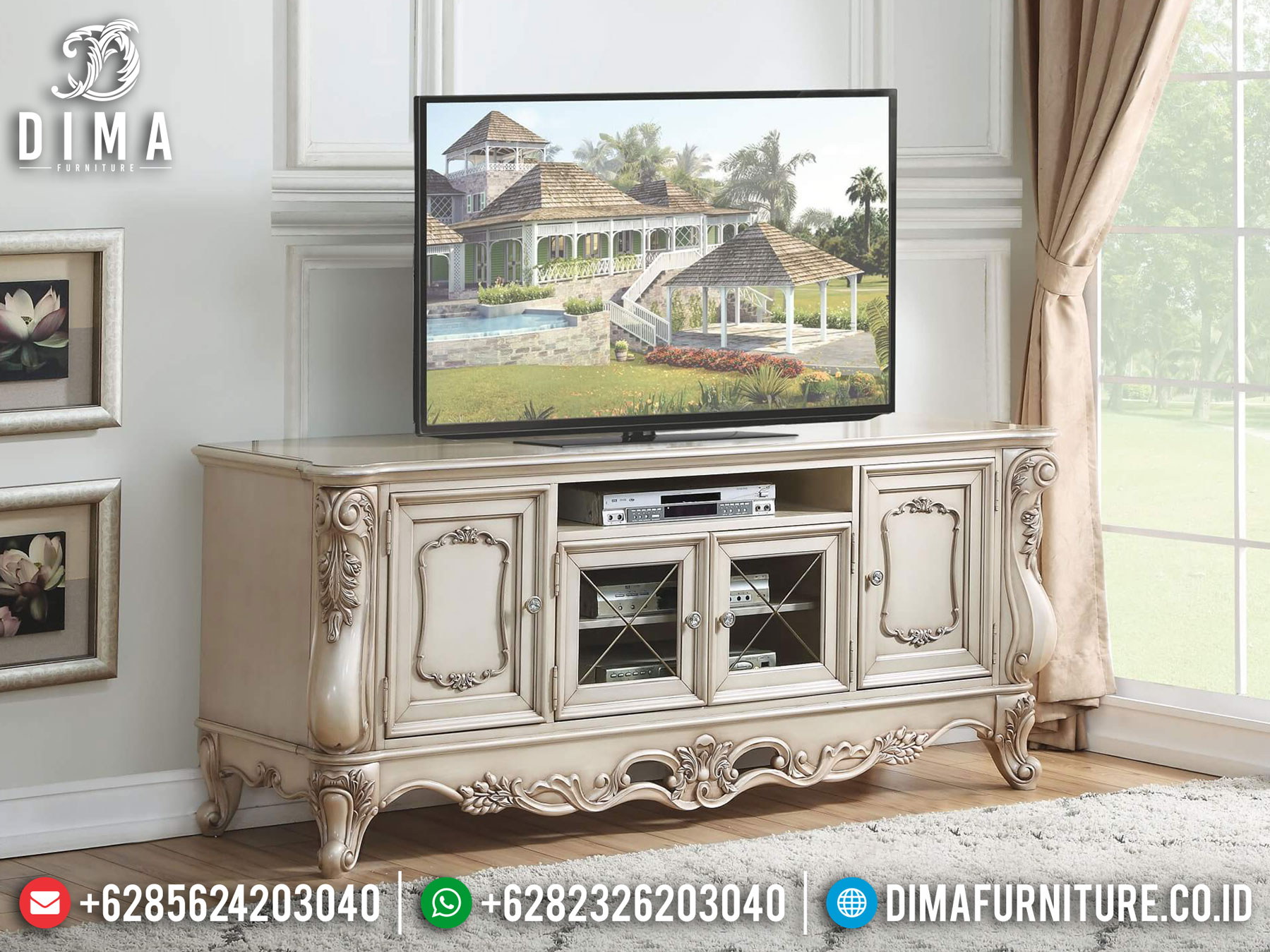 New Meja TV Ukir Luxury Classic Mebel Jepara Terbaru TTJ-1036