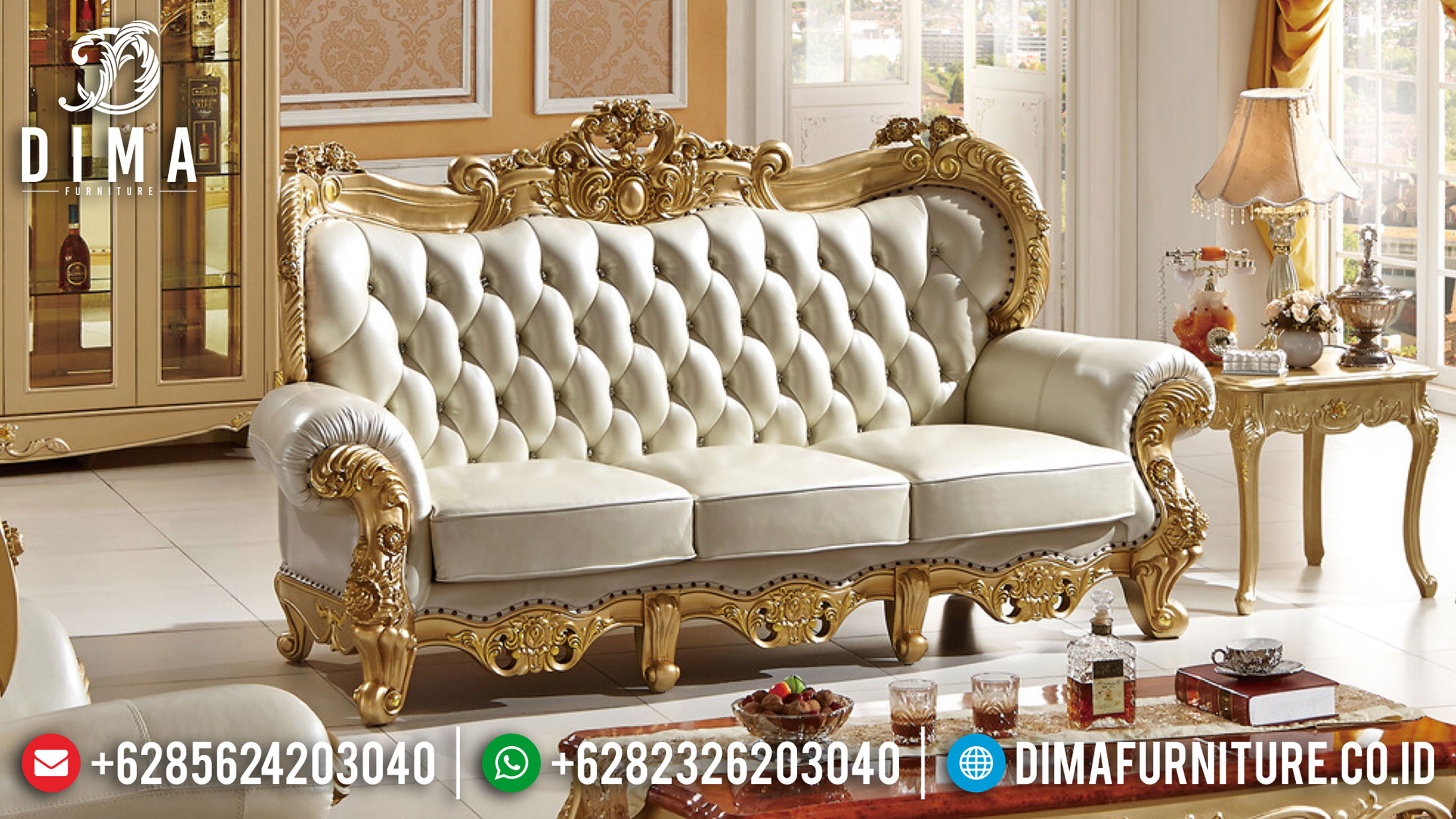 New Model Kursi Sofa Mewah 3 Seat Luxury Carving Italian Empire Style TTJ-1044