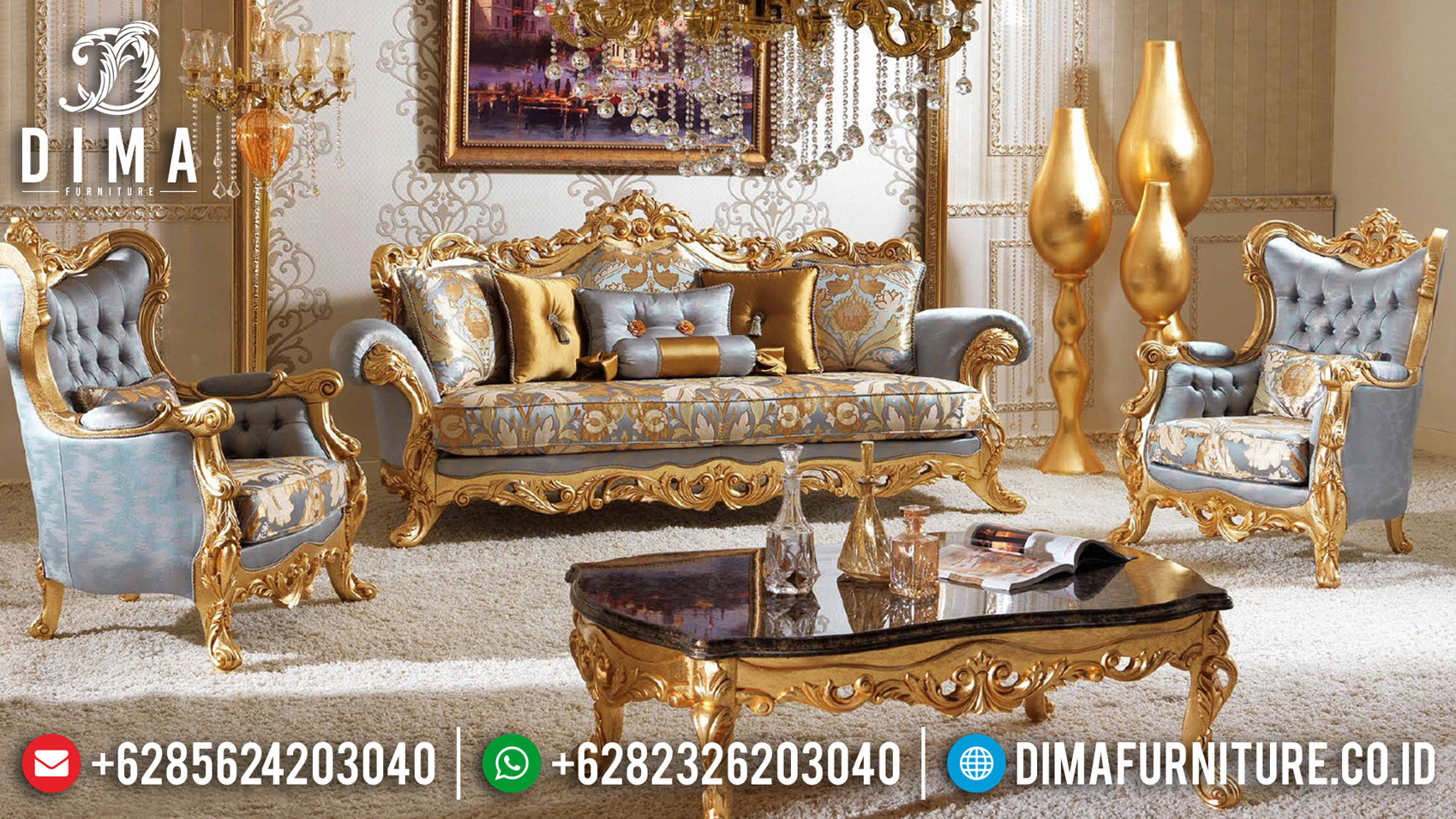 New Set Kursi Sofa Tamu Ukir Jepara Elegant Design Majestic Room TTJ-1054