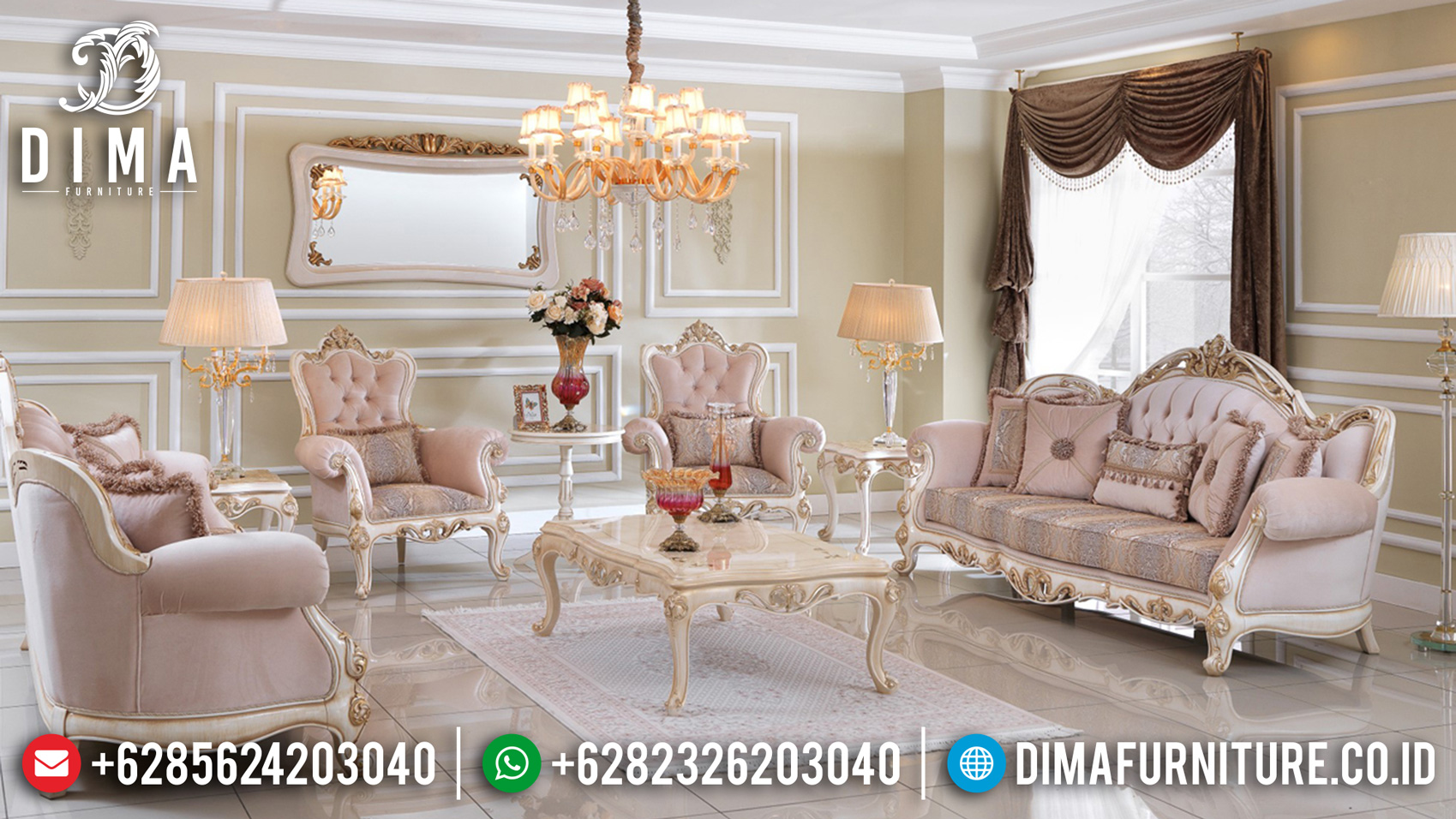 New Set Sofa Tamu Mewah Ukiran Jepara Luxurian Type Elegant Living Room TTJ-1040