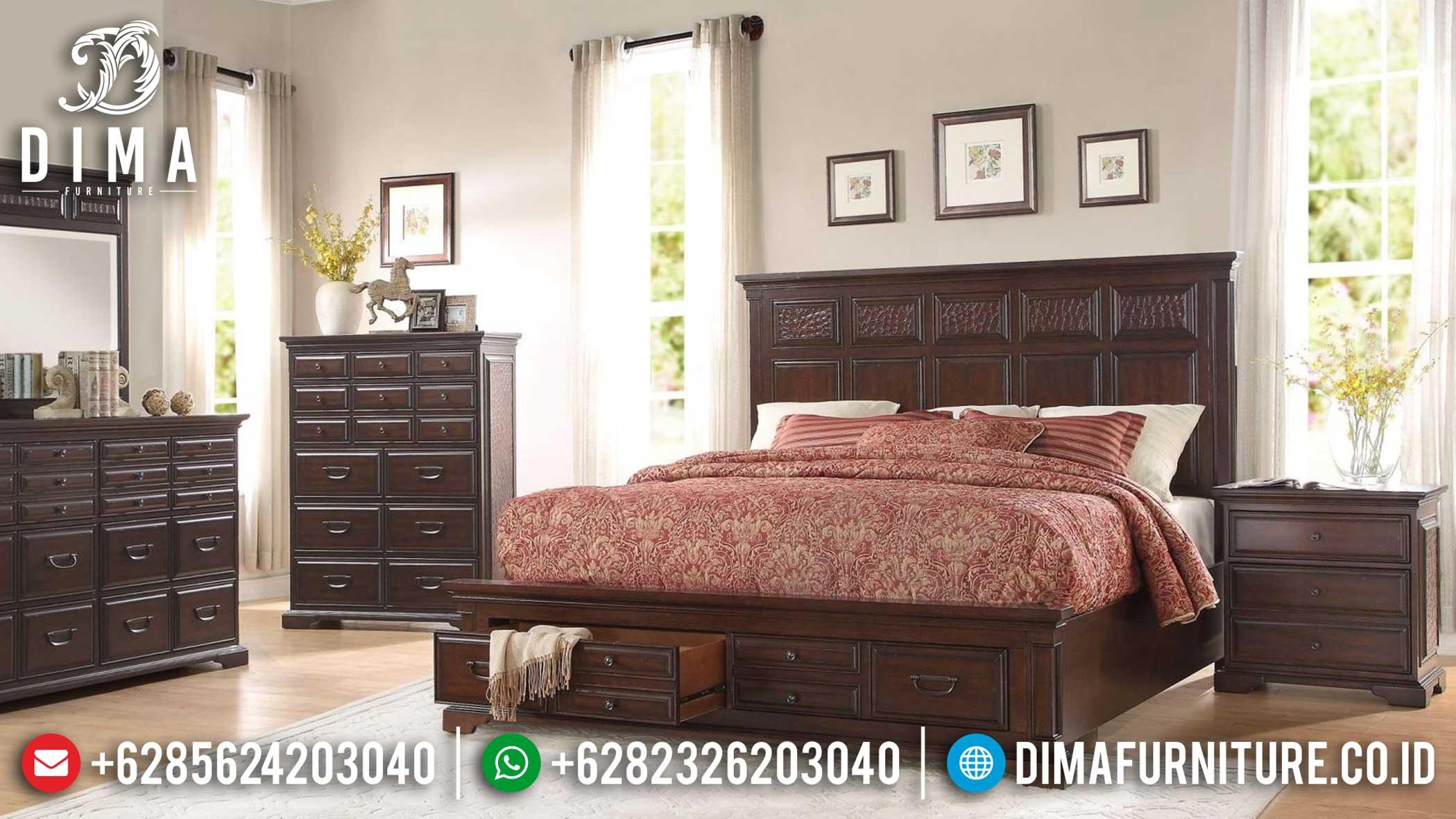 New Tempat Tidur Minimalis Laci Jati Natural Auburn Elegant Design TTJ-1118