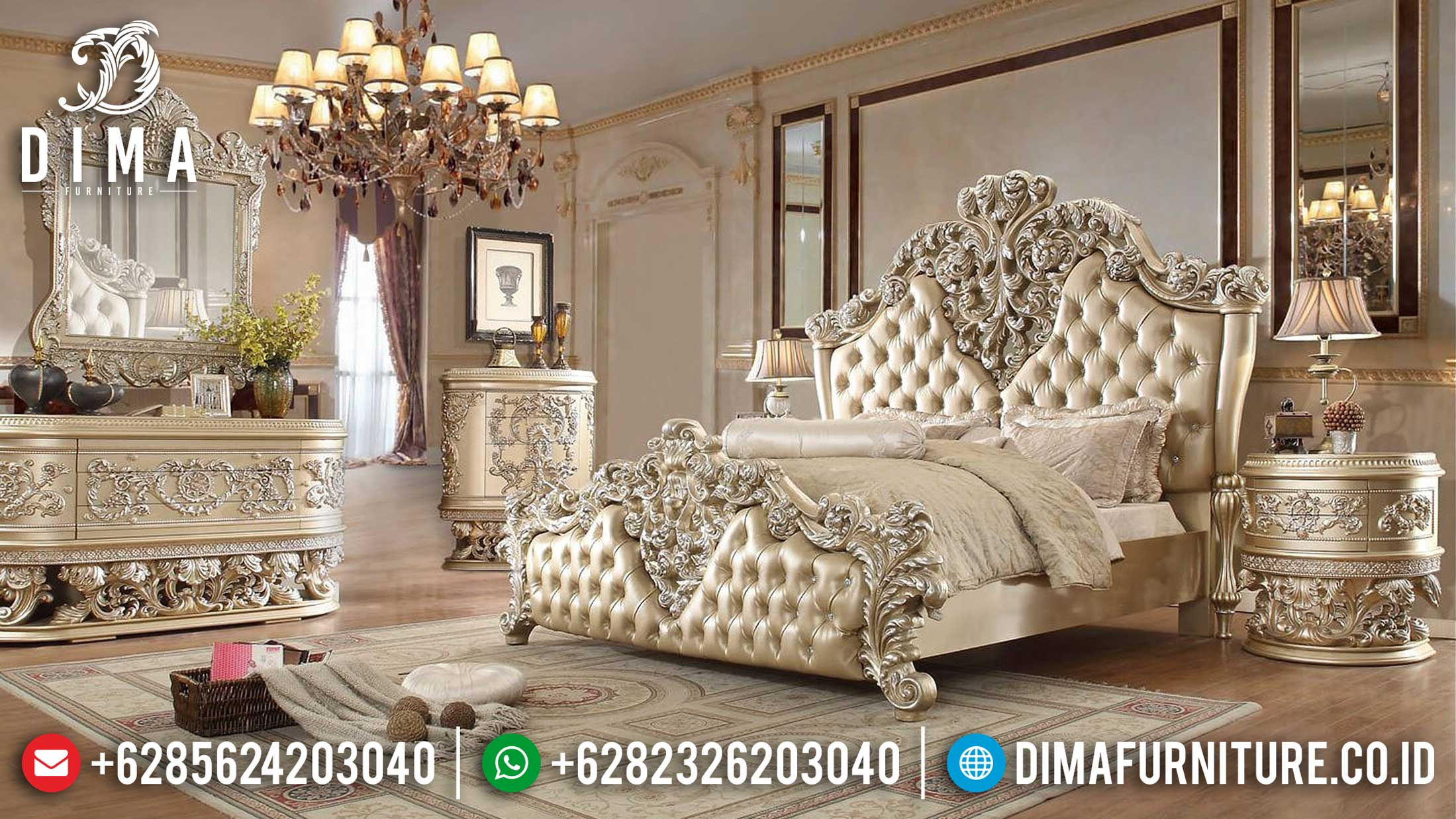Queen Bed Kamar Set Ukiran Jepara Luxury Carving Golden Shine Termewah TTJ-1137