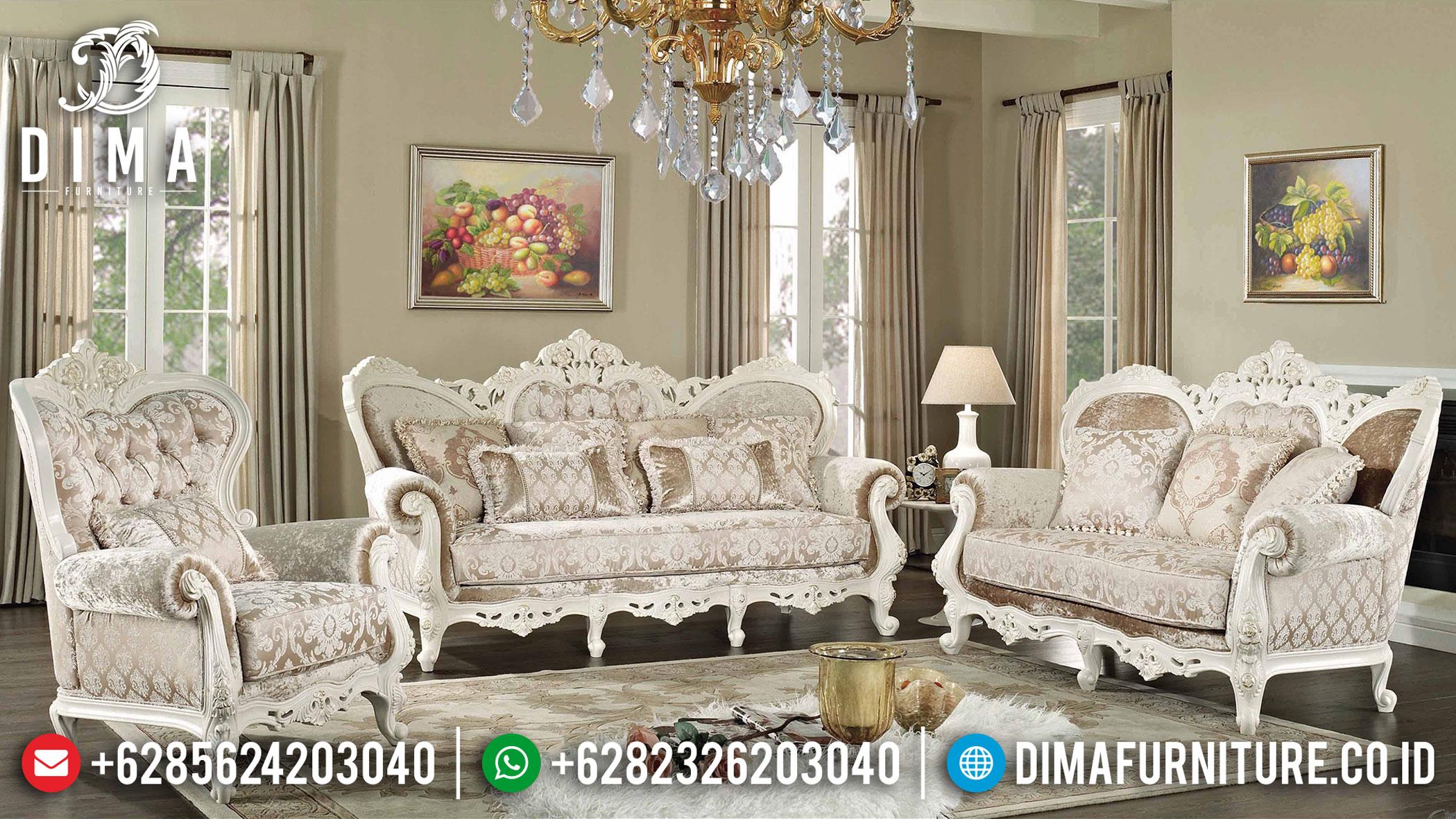 Romanian Sofa Tamu Ukir Jepara Luxury Classic White Satin Furniture Jepara TTJ-1039