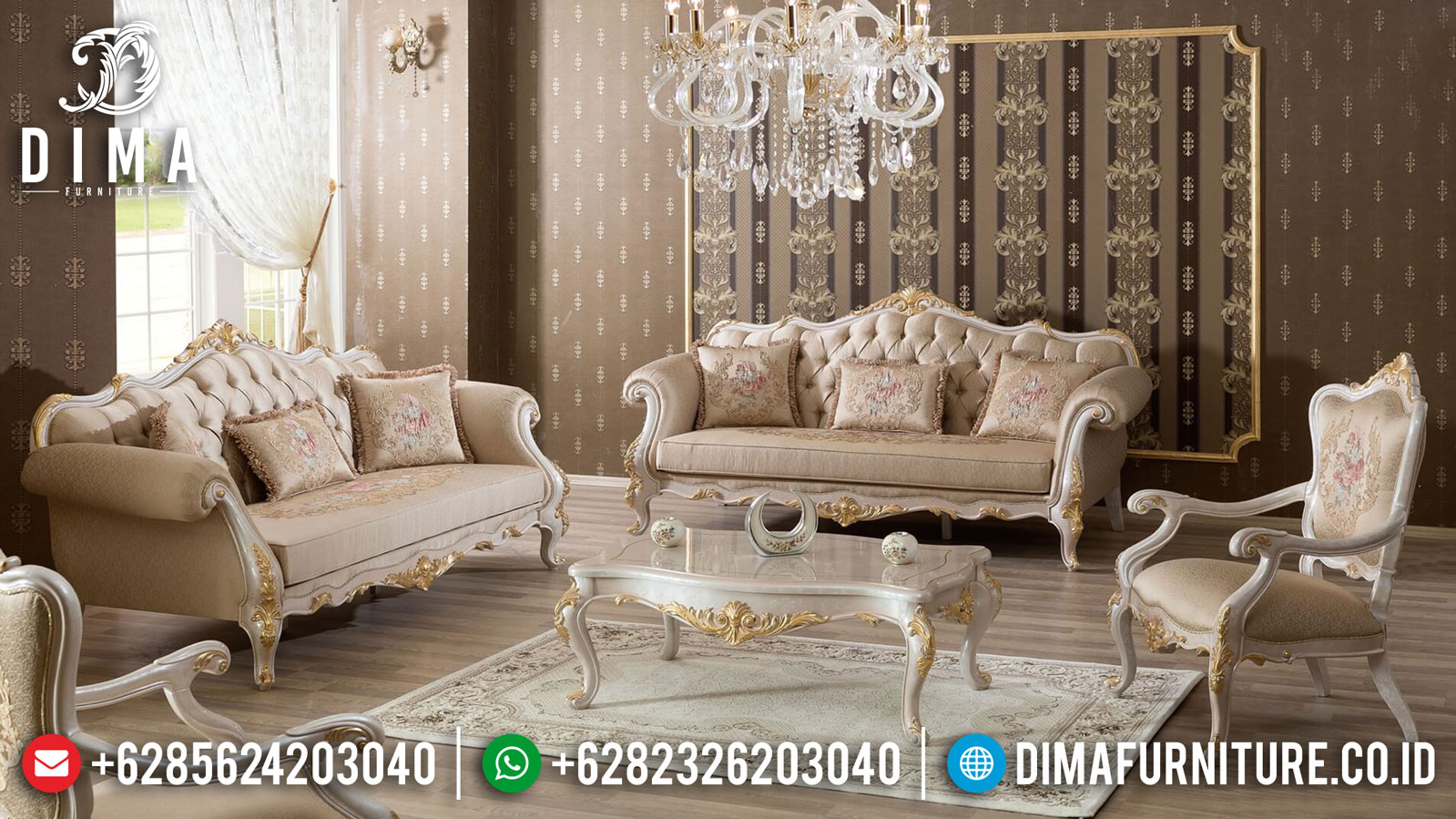 Set 3 2 1 Meja Sofa Tamu Mewah Luxury Classic Jepara New Model TTJ-1043