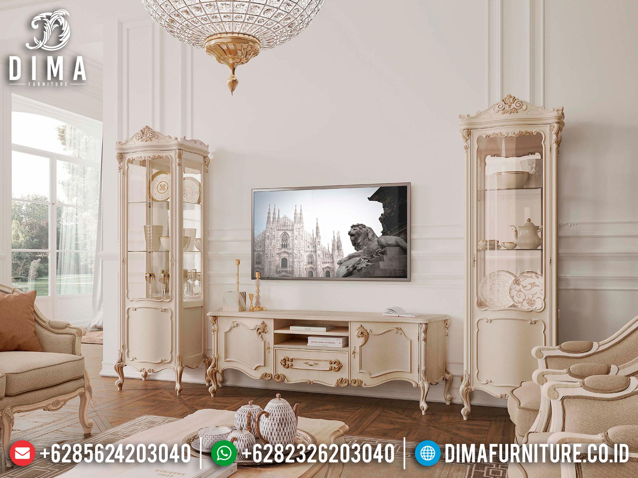 Set Meja TV Putih Duco, Bufet TV Mewah Luxury Classic, Lemari Hias Ukir Jepara Terbaru TTJ-1092