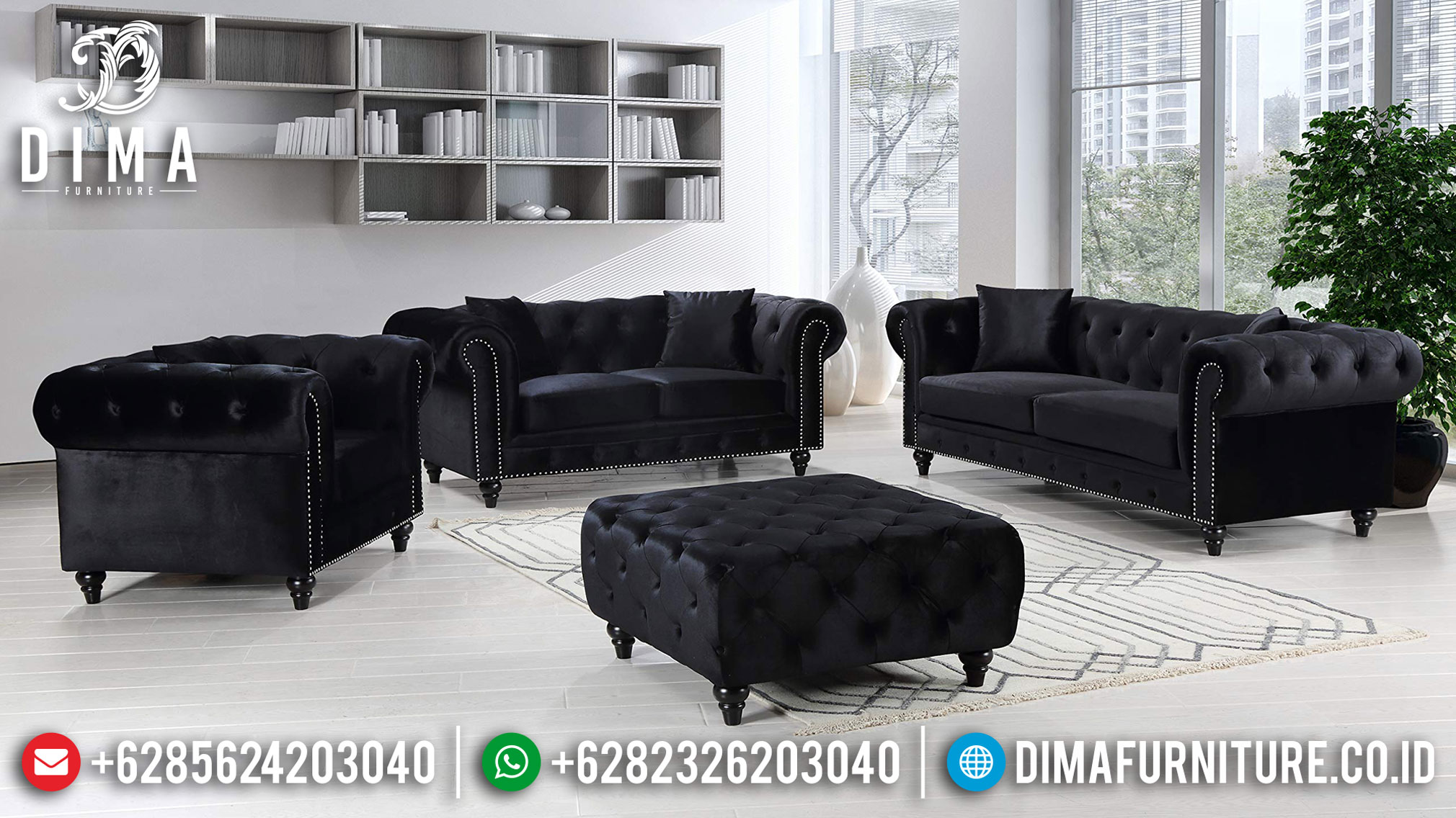Sofa Tamu Chesterfield Minimalis Black Edition Best Seller TTJ-0990