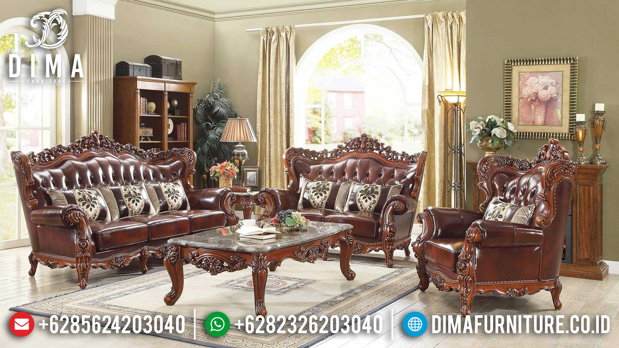 Sofa Tamu Jati Natural Full Carving Solid Wood Grade A TTJ-0982