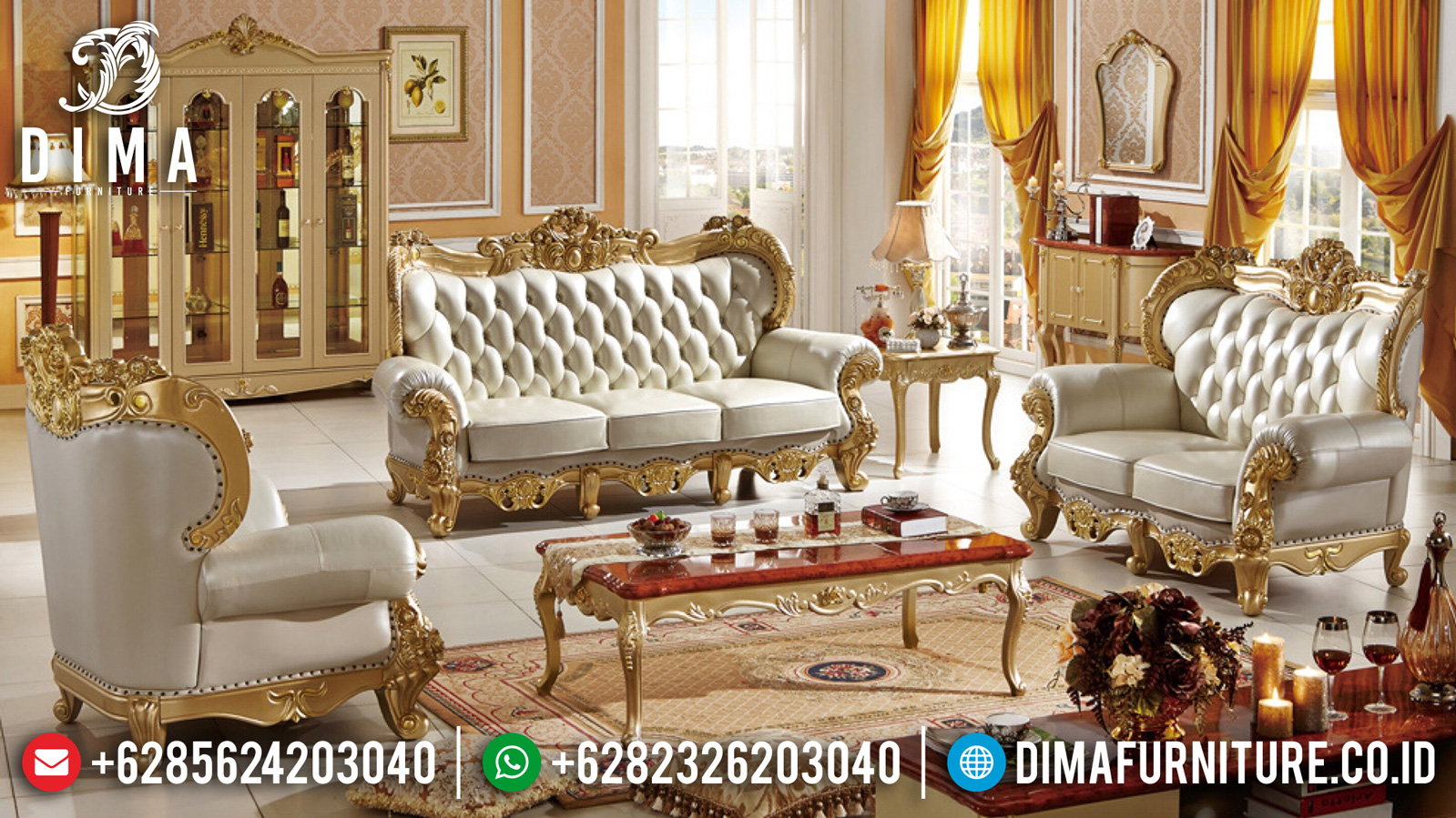 Sofa Tamu Mewah Luxury Carving Baroque Style Golden Shine Color TTJ-1038