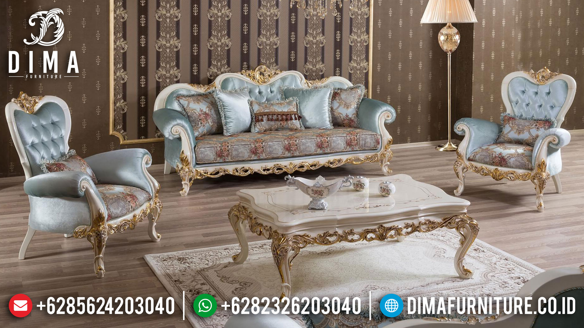 Sofa Tamu Ukiran Jepara Luxury Art Deco Classic Combination TTJ-0985