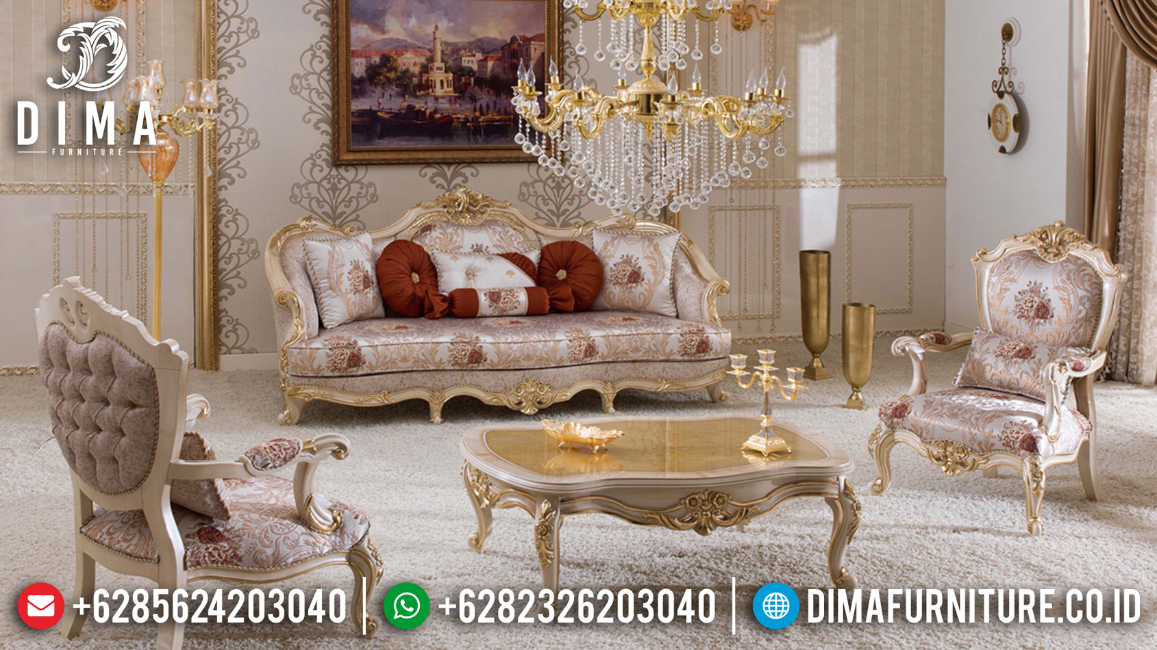 Turkish Style Sofa Tamu Mewah Jepara Ukiran Luxury Elegant Living Room TTJ-1050