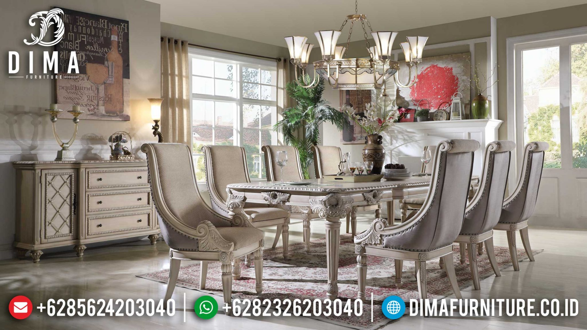 Art Deco Meja Makan Mewah Ukiran Jepara Luxury Carving Royals Type TTJ-1187