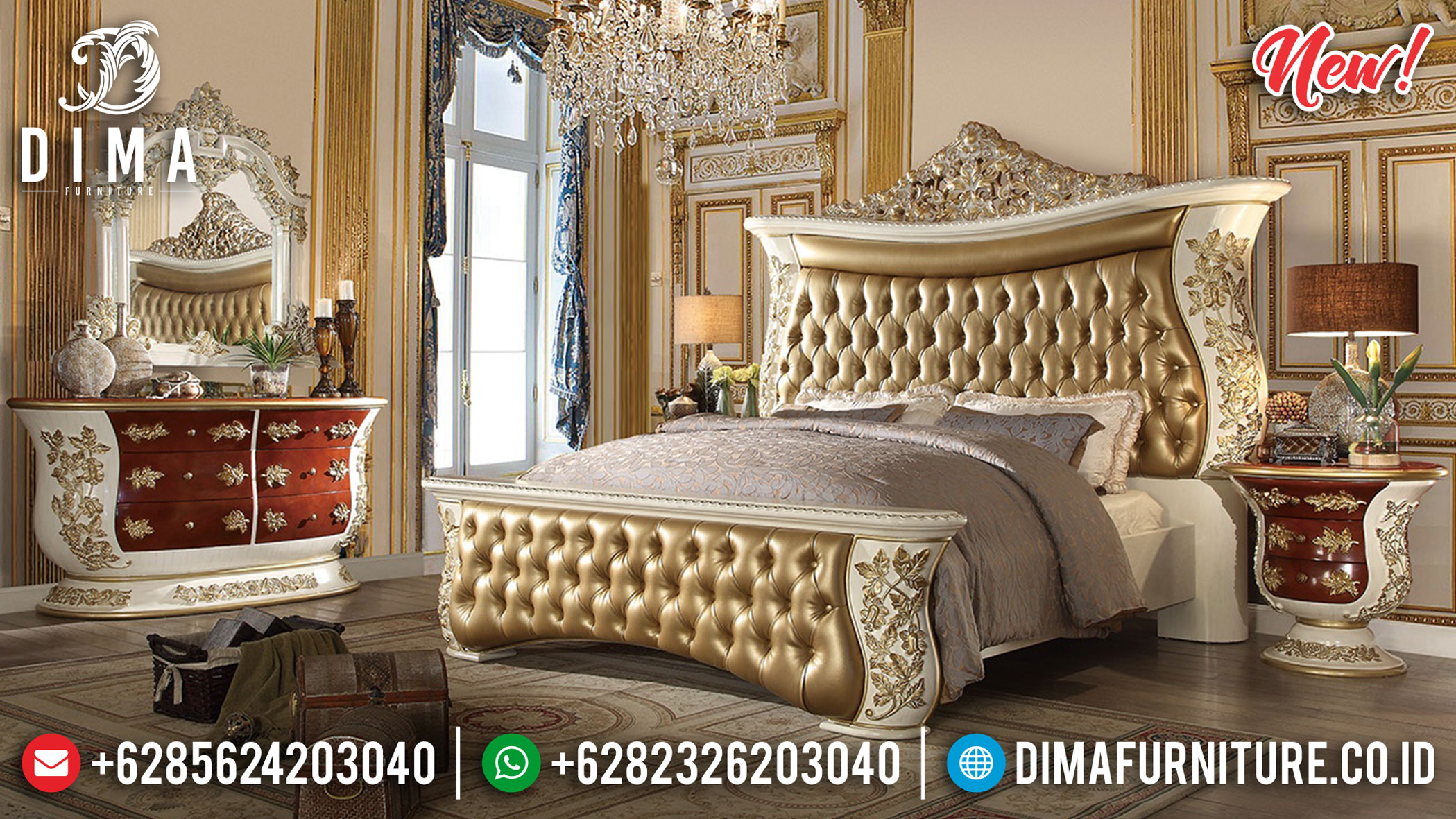 Black Friday Sale Tempat Tidur Mewah Ukiran Luxury Carving Europe Kingdom Style TTJ-1170