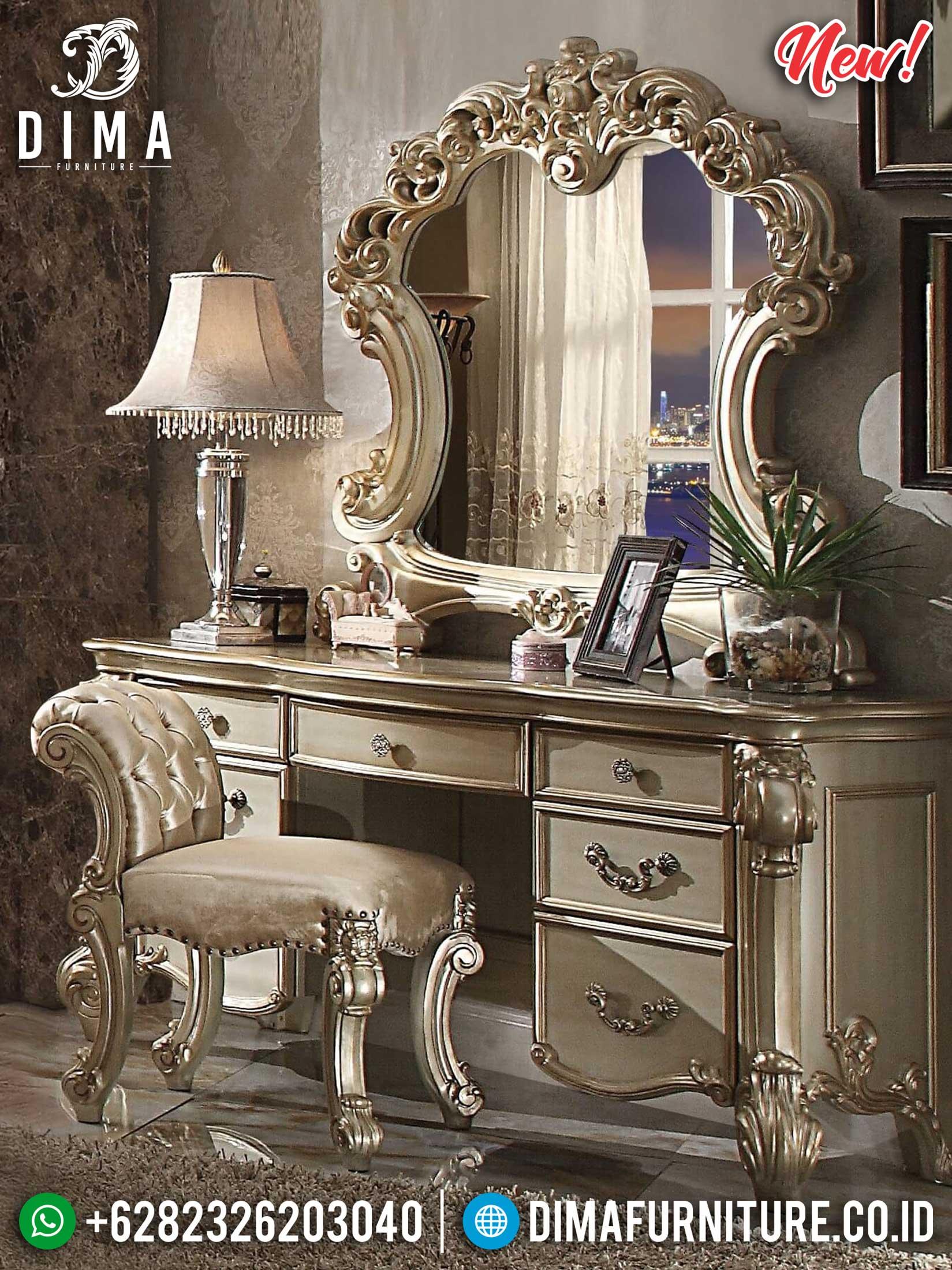 Desain Meja Rias Mewah Ukiran Jepara Luxury Vanity Room Style TTJ-1163