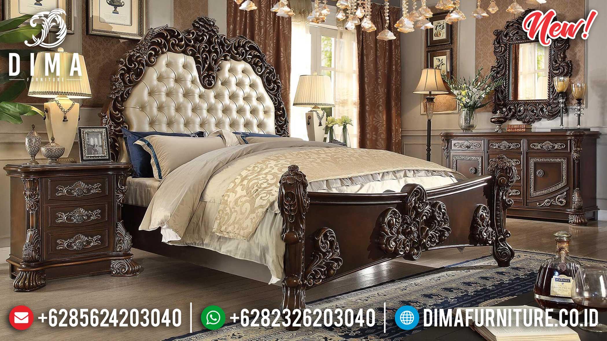 Harga Kamar Set Mewah Clarissa Natural Kayu Jati Luxury Carving Jepara TTJ-1166