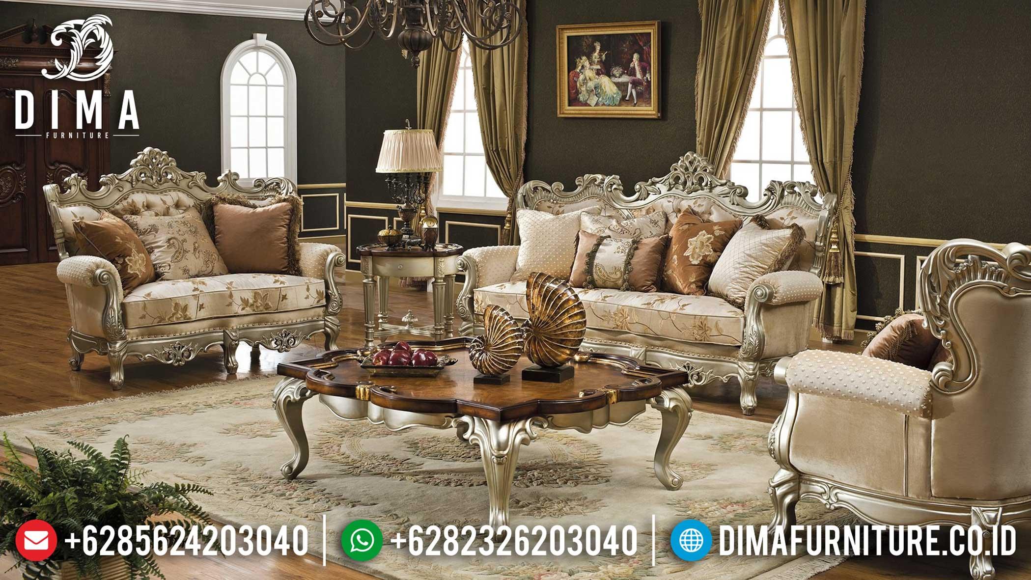 Harga Sofa Tamu Mewah Jepara Luxury Style Grade A Solid Wood Mahogani TTJ-1251