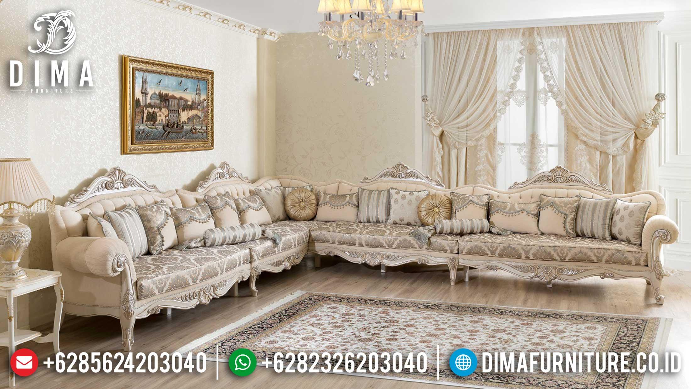 Harga Sofa Tamu Sudut Mewah Jepara Luxury Carving Elegant Design TTJ-1210