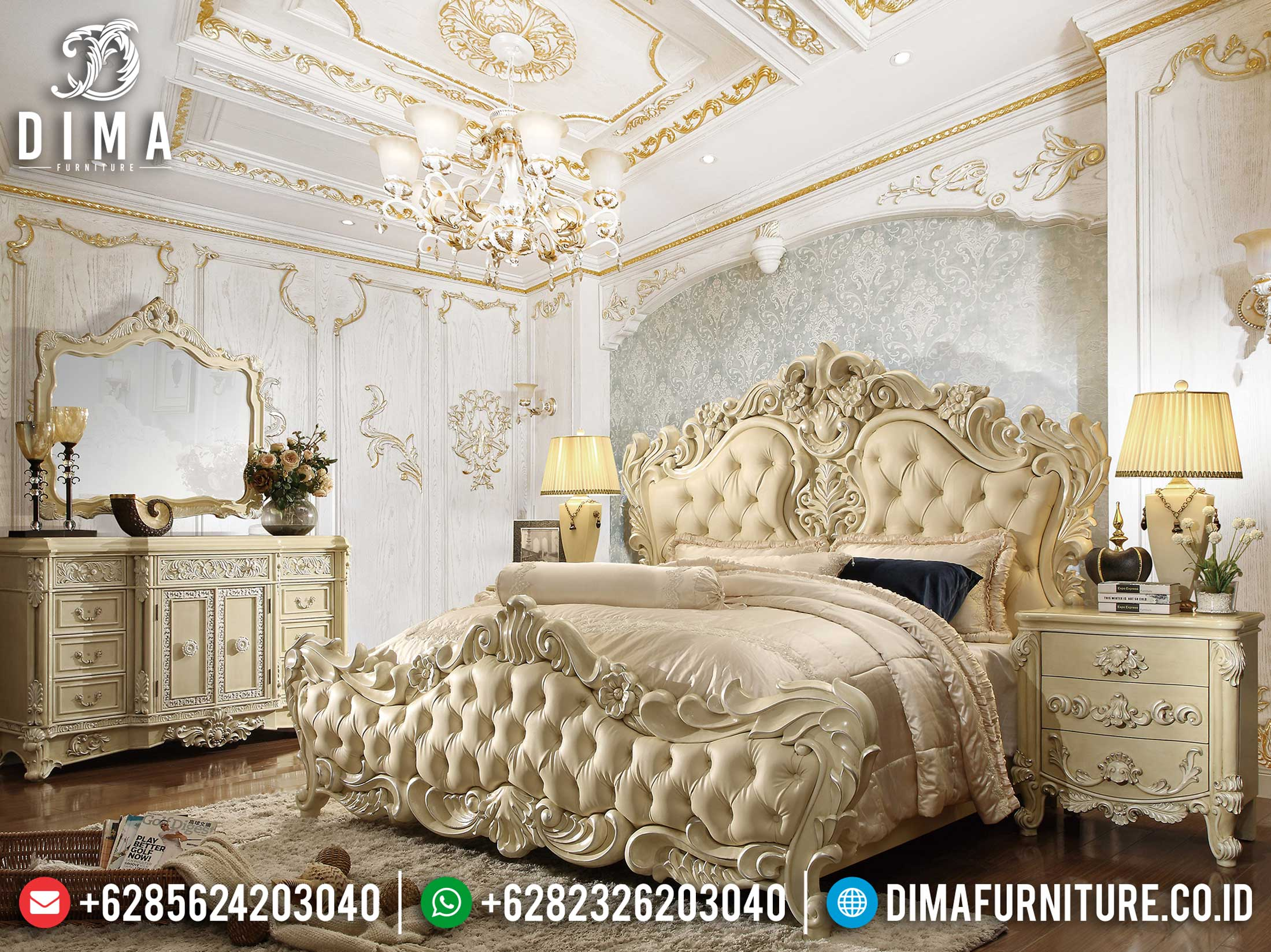 Hilarious Kamar Set Mewah Deluxe Luxury Carving Furniture Jepara Terbaru TTJ-1150
