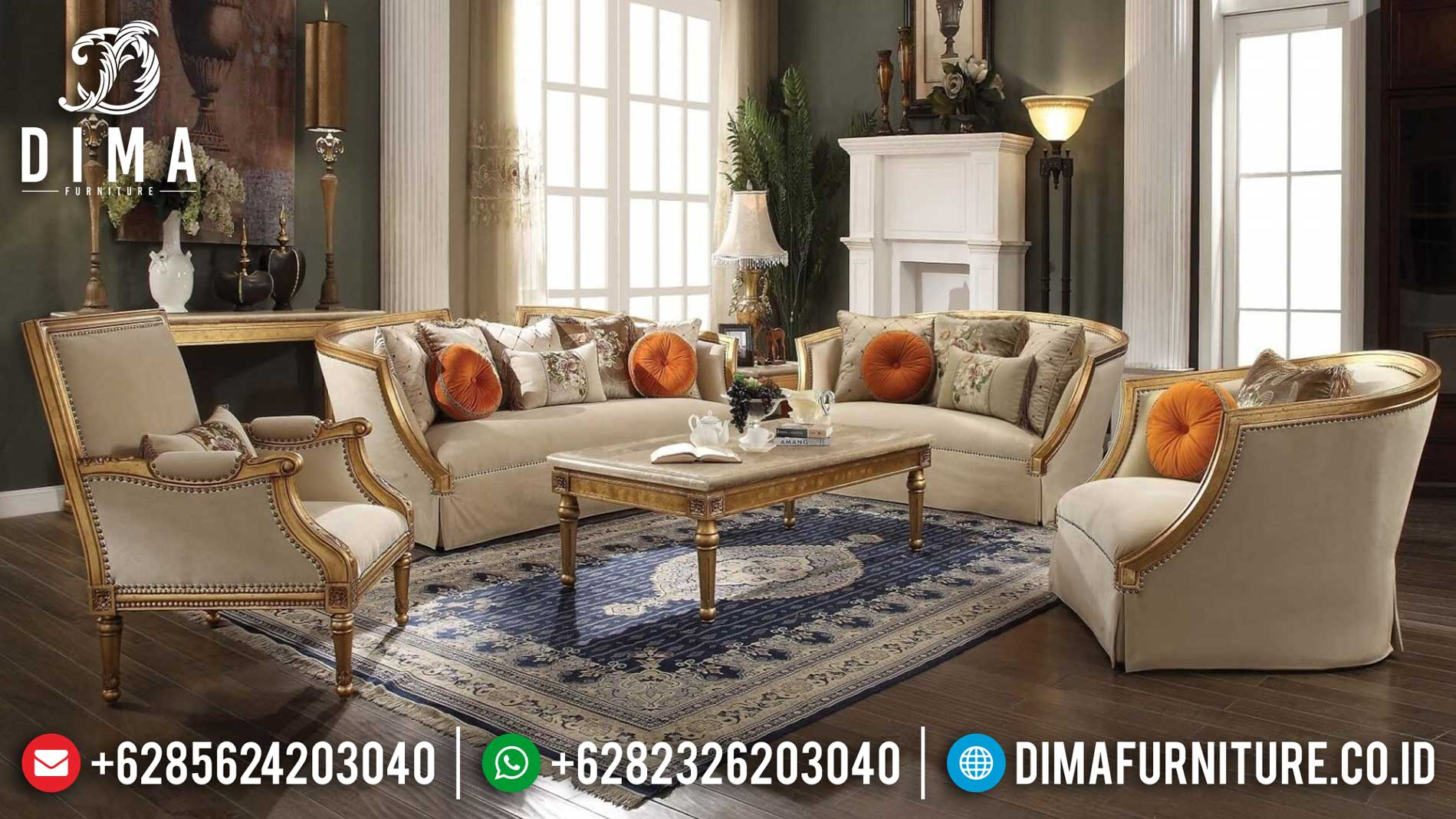 Jual Sofa Mewah Ruang Tamu Luxury Classic Golden Shine Color Best Mebel Jepara TTJ-1256