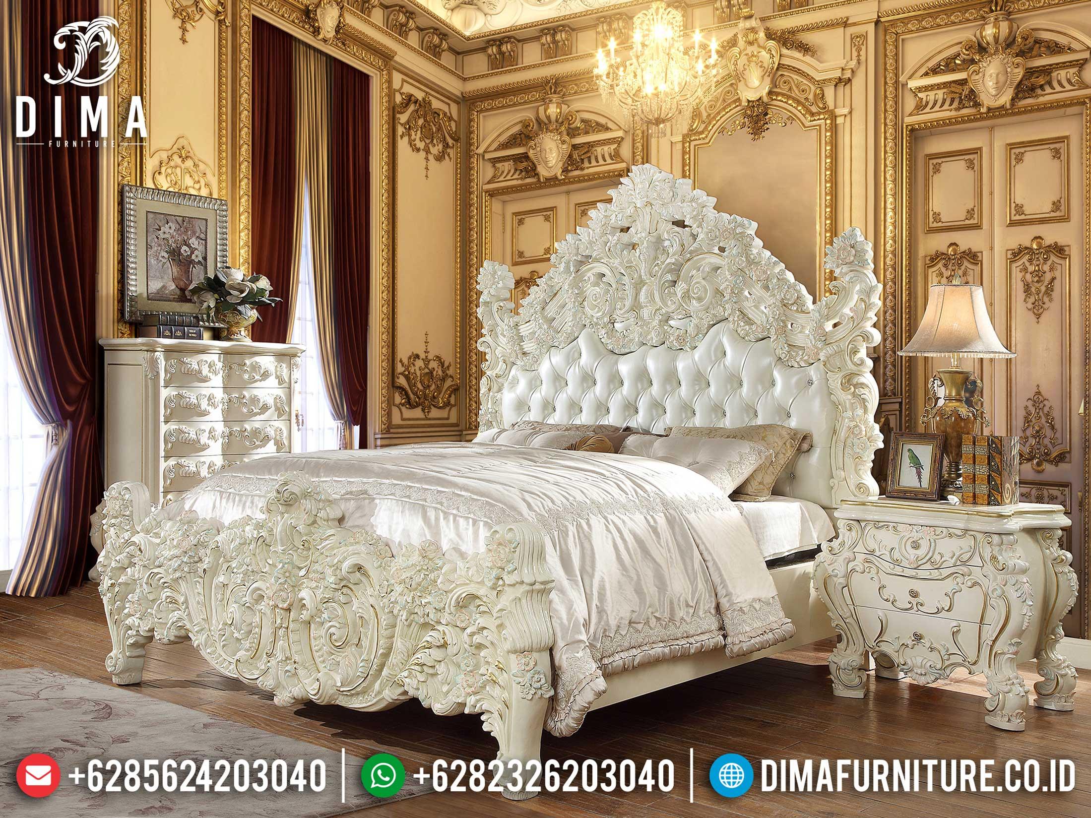 Jual Tempat Tidur Ukiran Mewah Jepara White Duco Clear Coat Glossy TTJ-1152