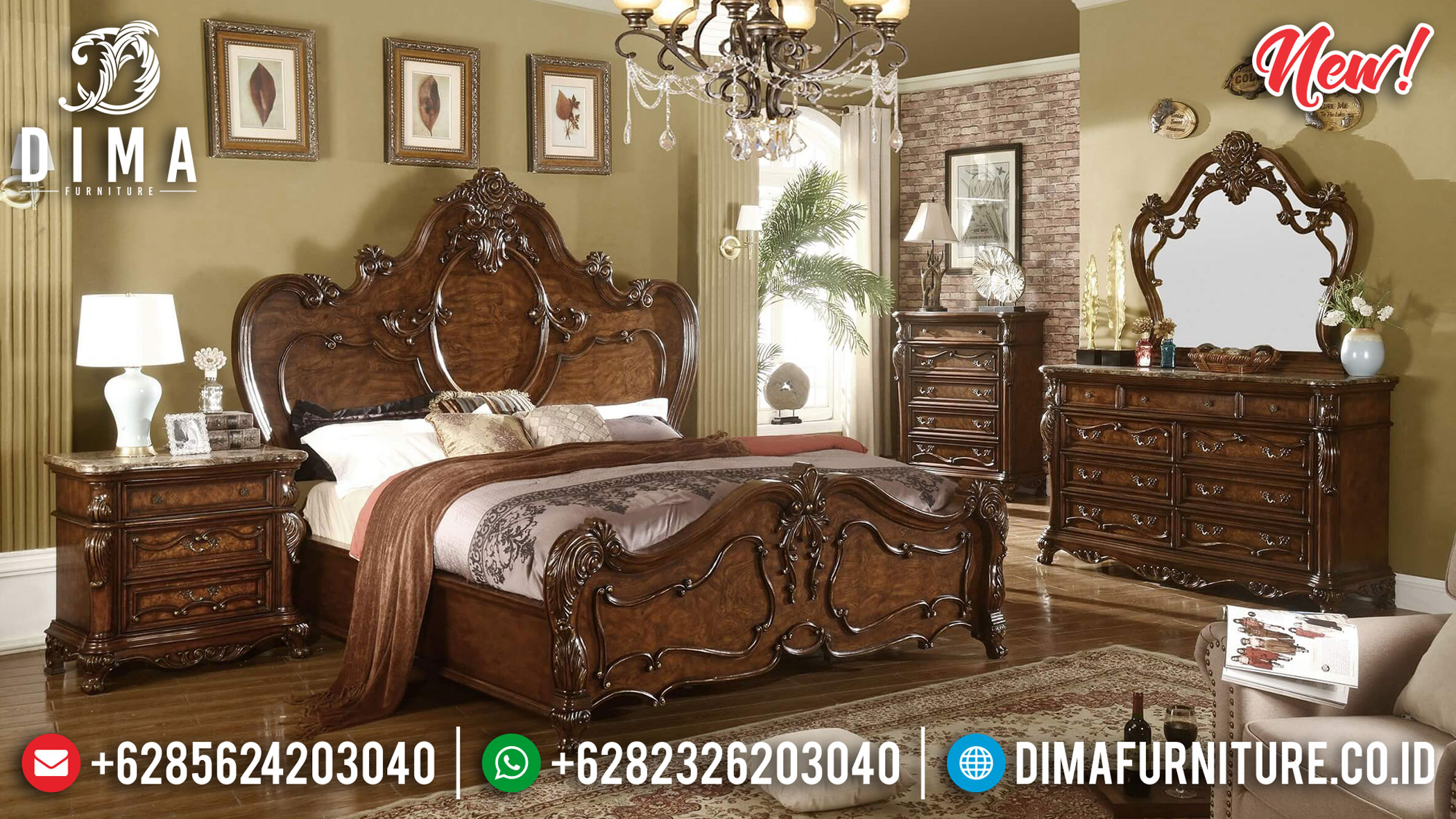 Kamar Set Mewah Natural Jati Luxury Classic Bellagio Interior Inspiring TTJ-1165