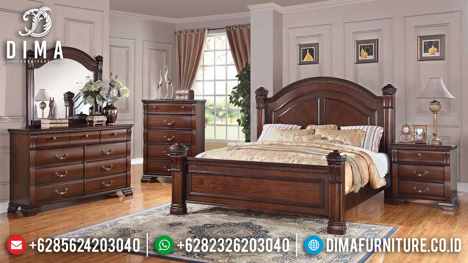 Kamar Set Minimalis Kayu Jati Natural Classic Furniture Jepara Luxury TTJ-1184