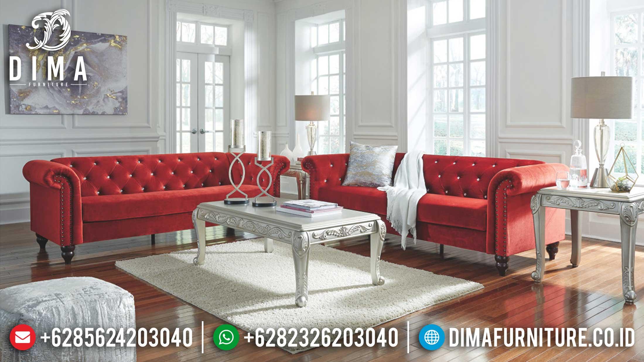 Loveset Sofa Tamu Chesterfield Minimalis Modern Red Heart Beauty Color TTJ-1220