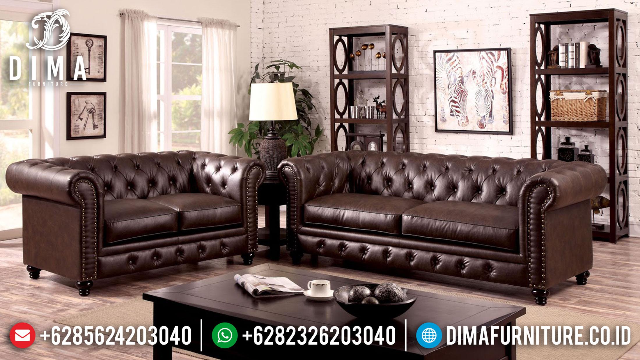 Model Sofa Tamu Minimalis Chesterfield New Oscar Leather Natural Jati TTJ-1202