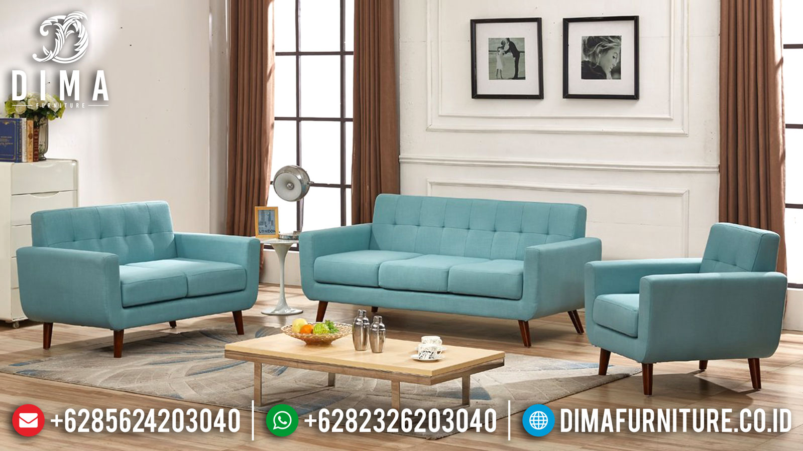 Model Sofa Tamu Minimalis Jepara Blue Sea Fabric New Luxury Design TTJ-1226