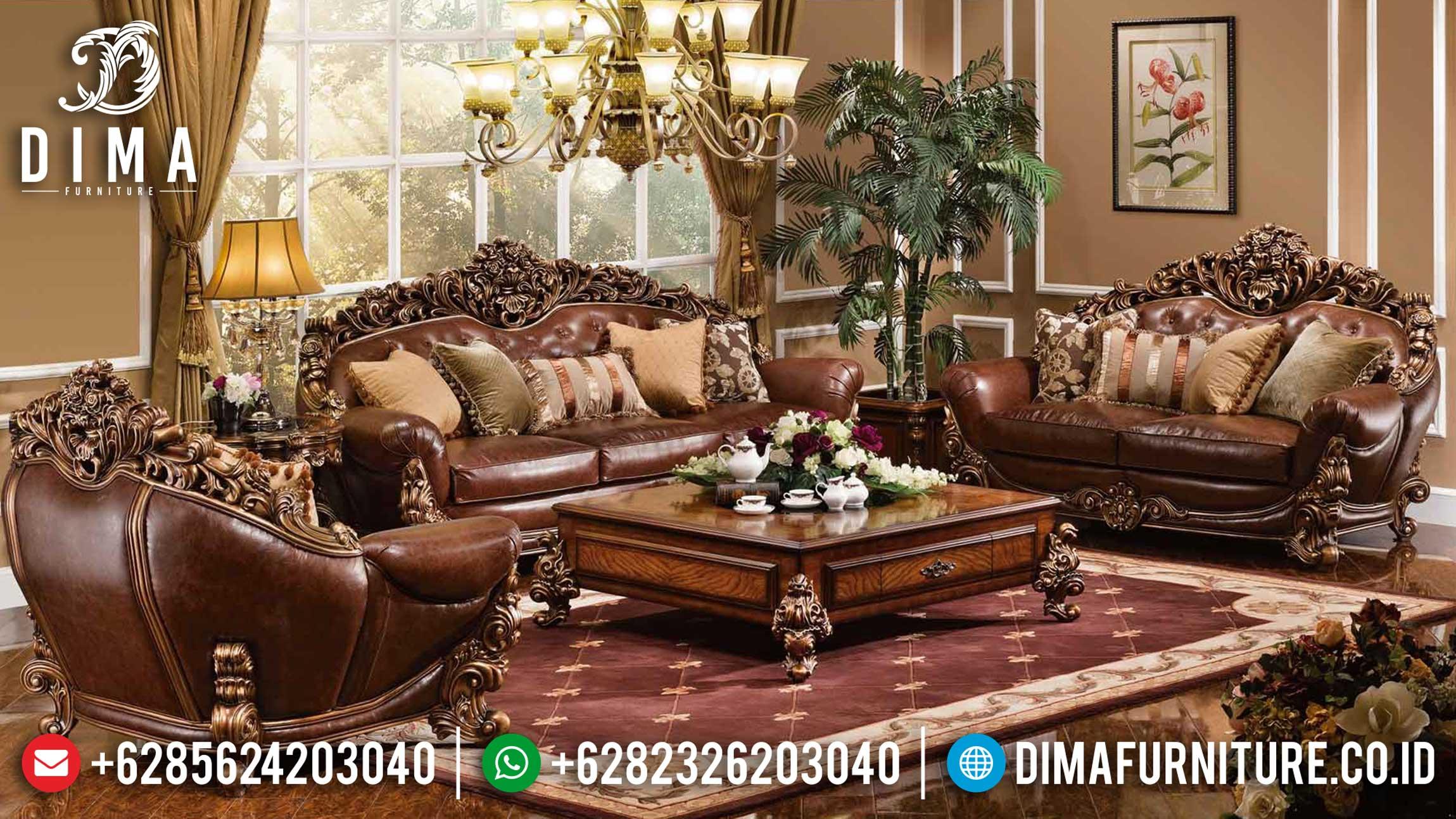 New Kursi Sofa Tamu Mewah Luxury Royal Classic Natural Jati Perhutani Jepara TTJ-1237