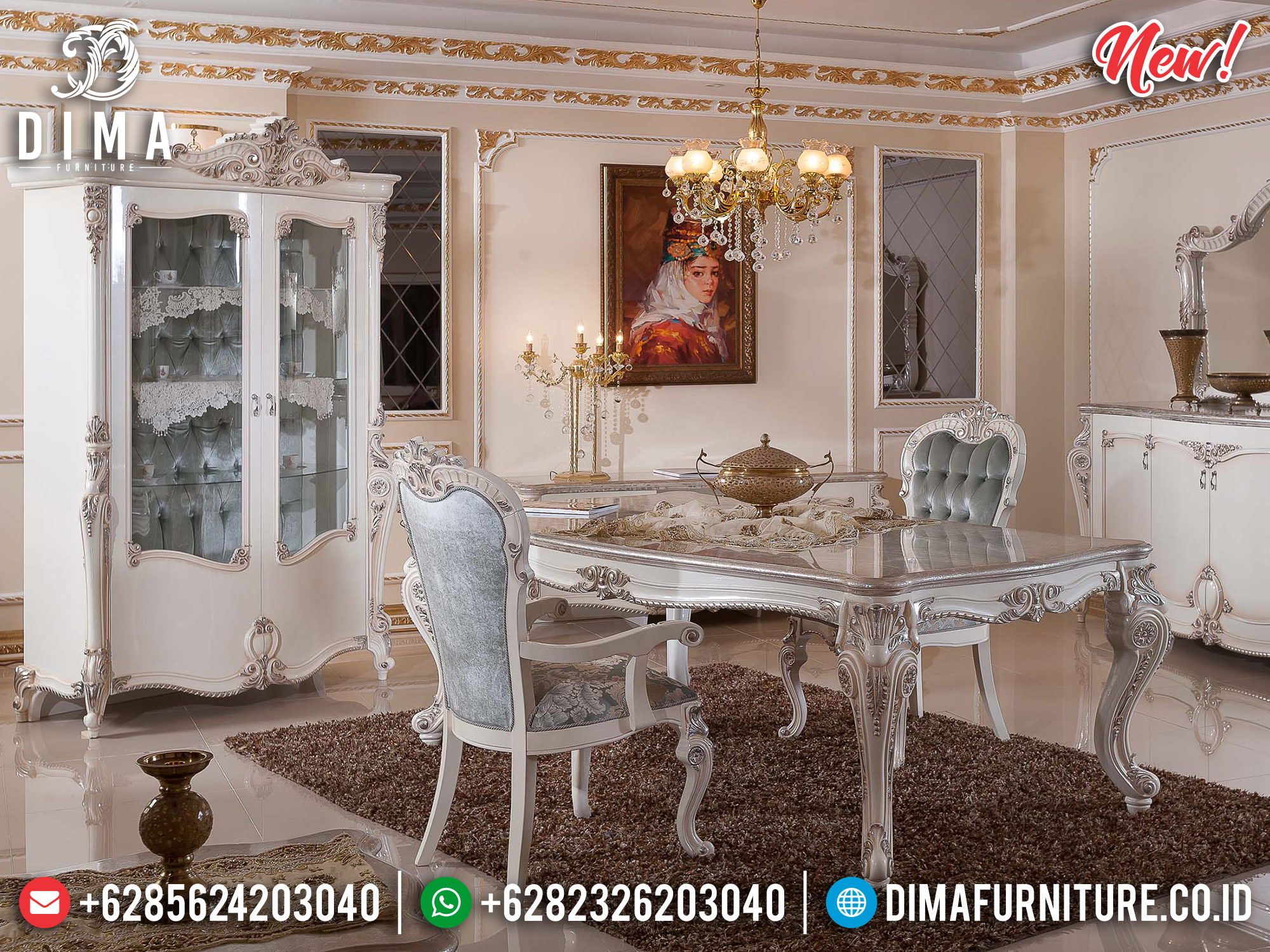New Meja Makan Ukiran Mewah Luxury Classic Royals Design Furniture Jepara TTJ-1189