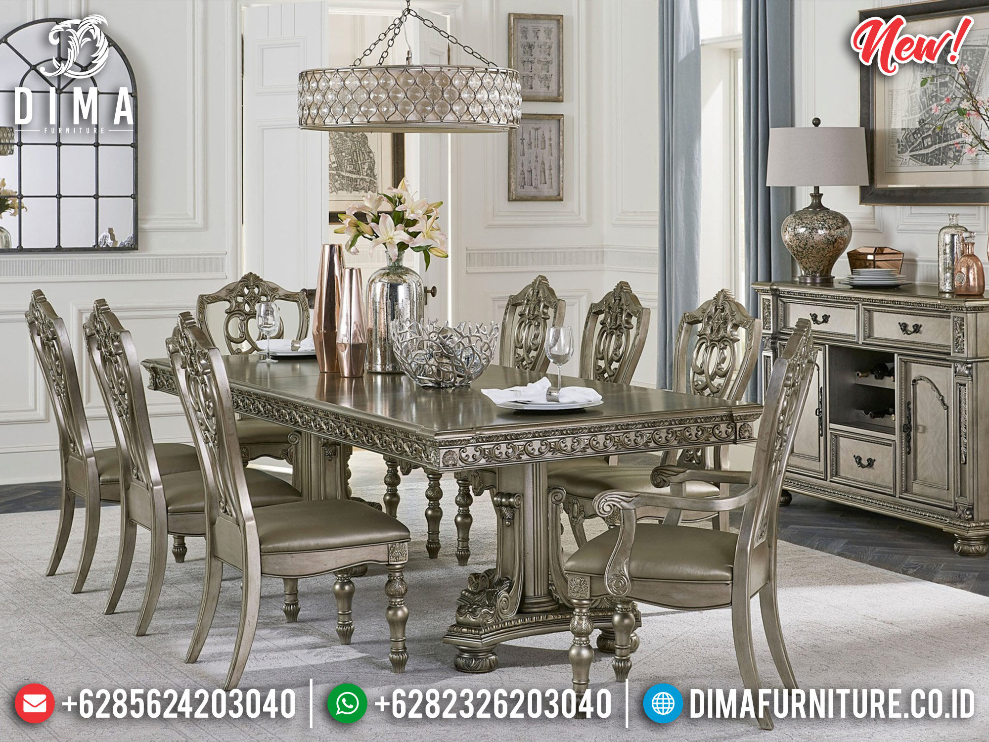 New Release Meja Makan Mewah Ukir Jepara Silver Champagne Luxury Carving TTJ-1191