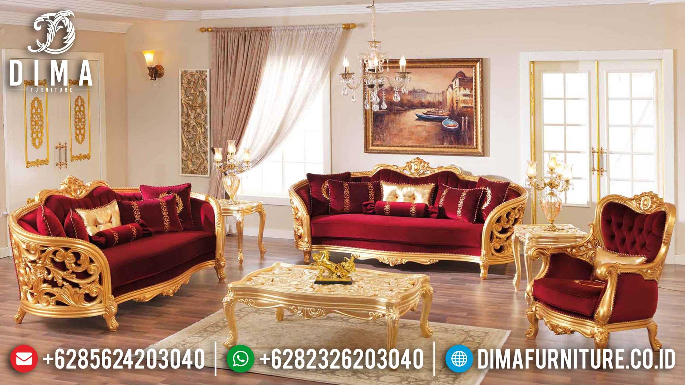 New Sofa Tamu Mewah Ukir Jepara Luxury Carving Golden Glossy Classic TTJ-1207