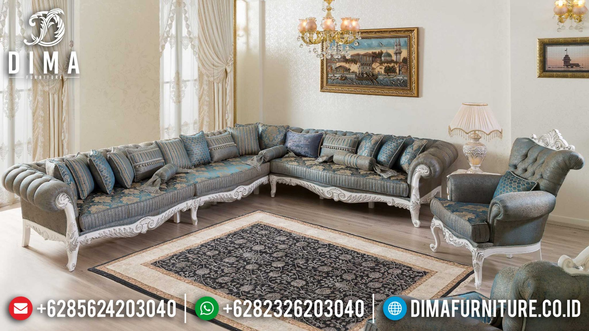 Set Sofa Tamu Sudut Jepara Minimalis Design Luxury Carving Gorgeous TTJ-1209