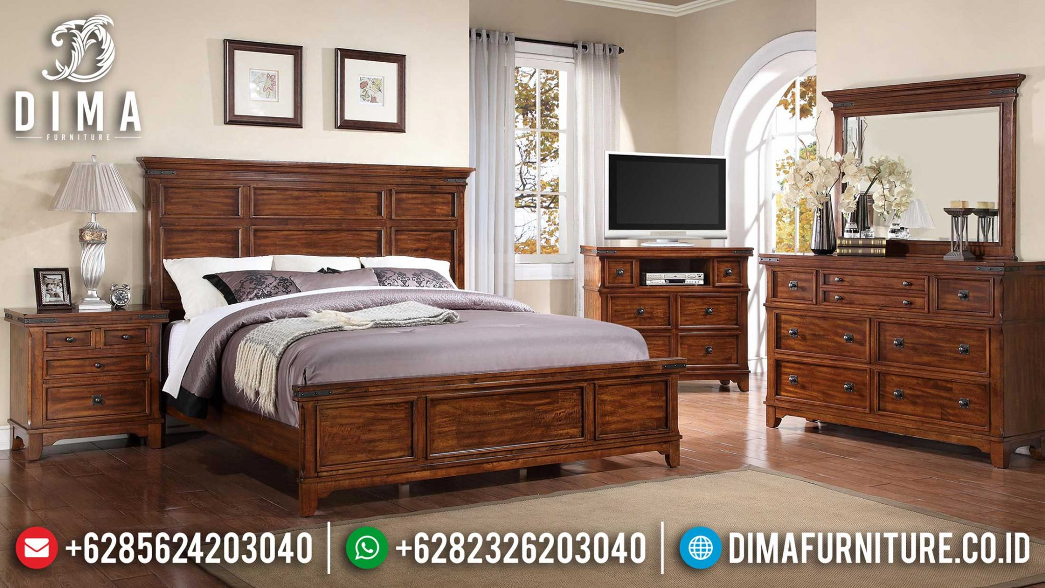 Set Tempat Tidur Minimalis Jati Natural Rose Wood Elegant Color Mebel Jepara TTJ-1178